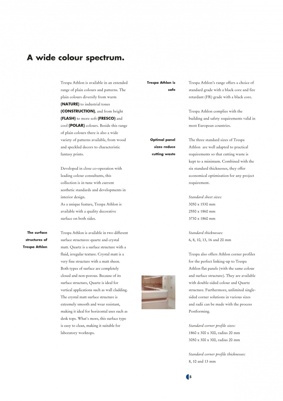 Pagina 7 - Placaje HPL pentru interior TRESPA ATHLON Catalog, brosura Engleza tina Light Blue E 2-01...