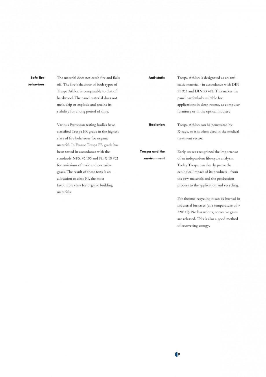 Pagina 11 - Placaje HPL pentru interior TRESPA ATHLON Catalog, brosura Engleza ........................