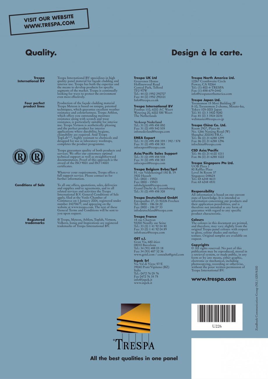 Pagina 16 - Placaje HPL pentru interior TRESPA VIRTUON Catalog, brosura Engleza nummer 2508 C.C.R.I....