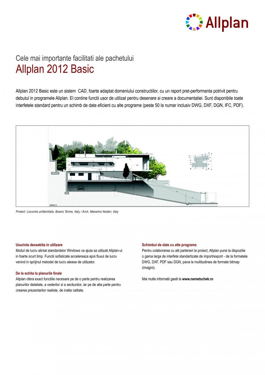 Pagina 1 - Program de proiectare NEMETSCHEK Allplan Basic Fisa tehnica Romana Allplan 2012 Basic ...