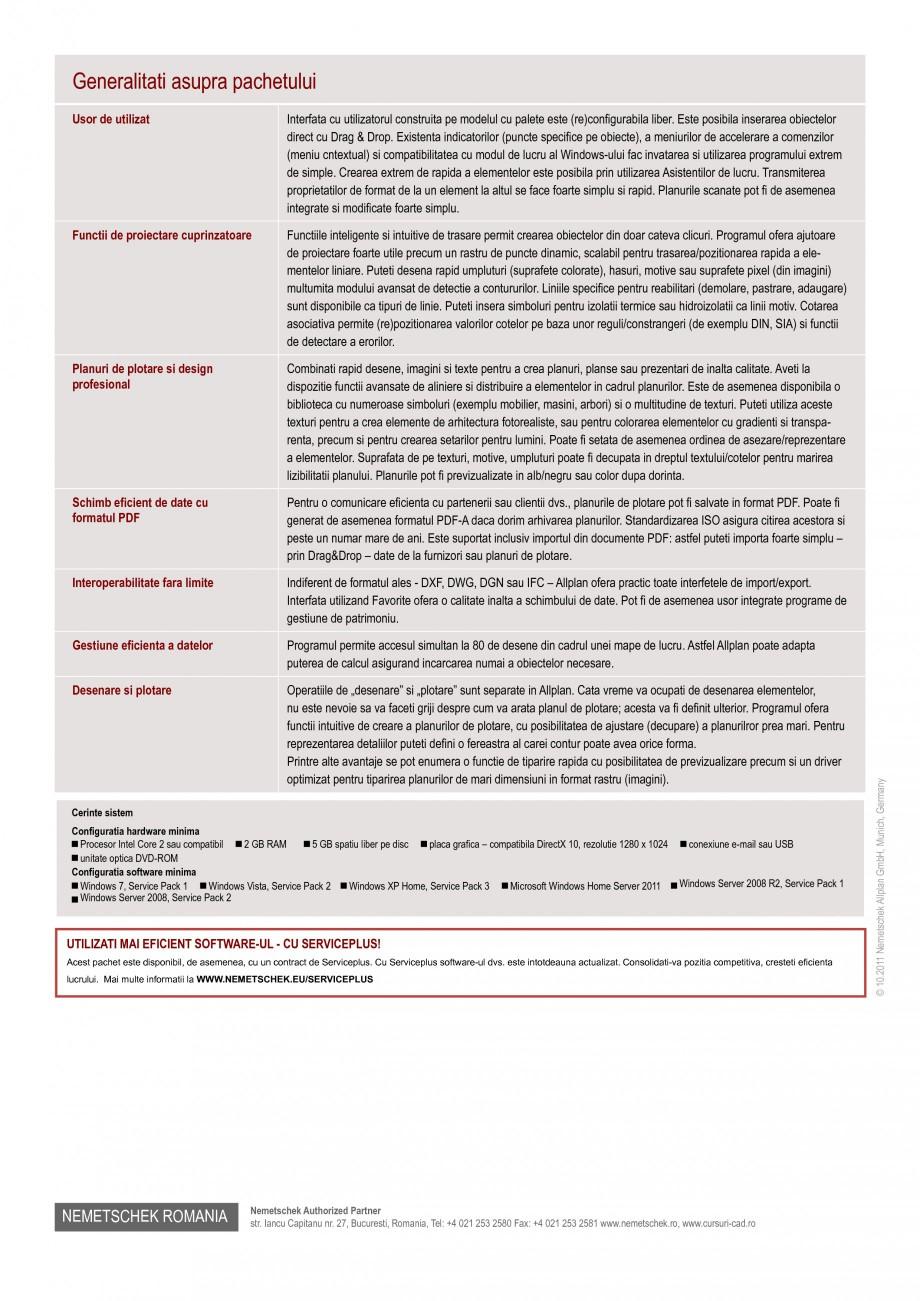 Pagina 2 - Program de proiectare NEMETSCHEK Allplan Basic Fisa tehnica Romana nalta calitate. ...