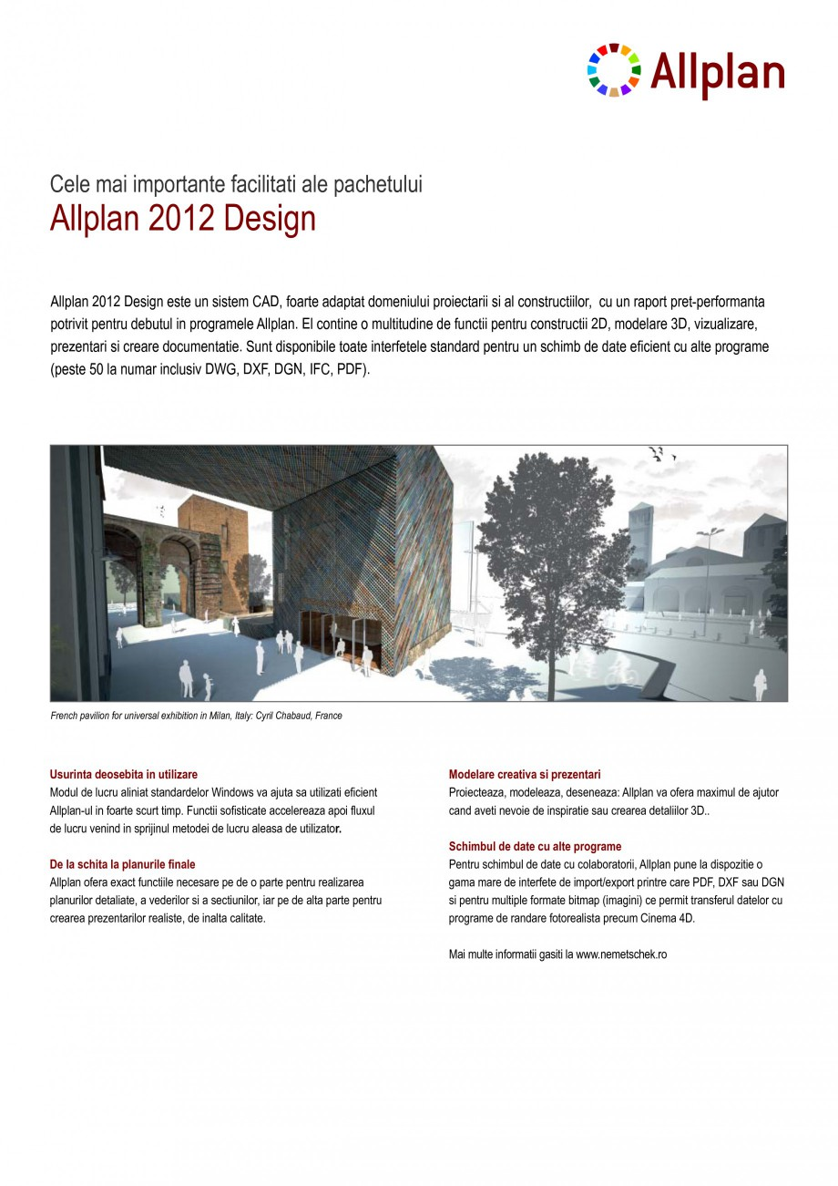 Pagina 1 - Program de proiectare NEMETSCHEK Allplan Design Fisa tehnica Romana Allplan 2012 Design  ...