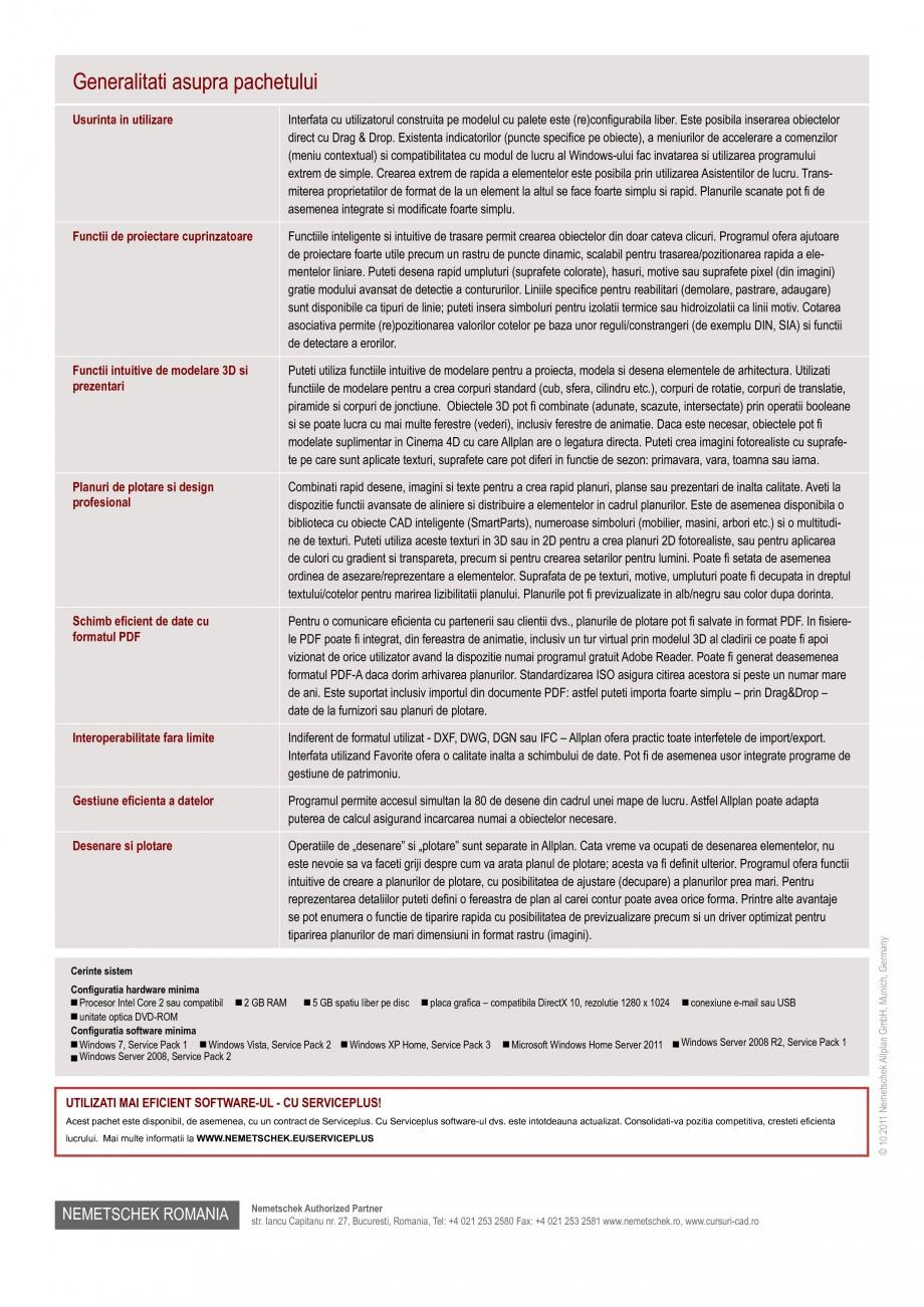 Pagina 2 - Program de proiectare NEMETSCHEK Allplan Design Fisa tehnica Romana or, iar pe de alta...
