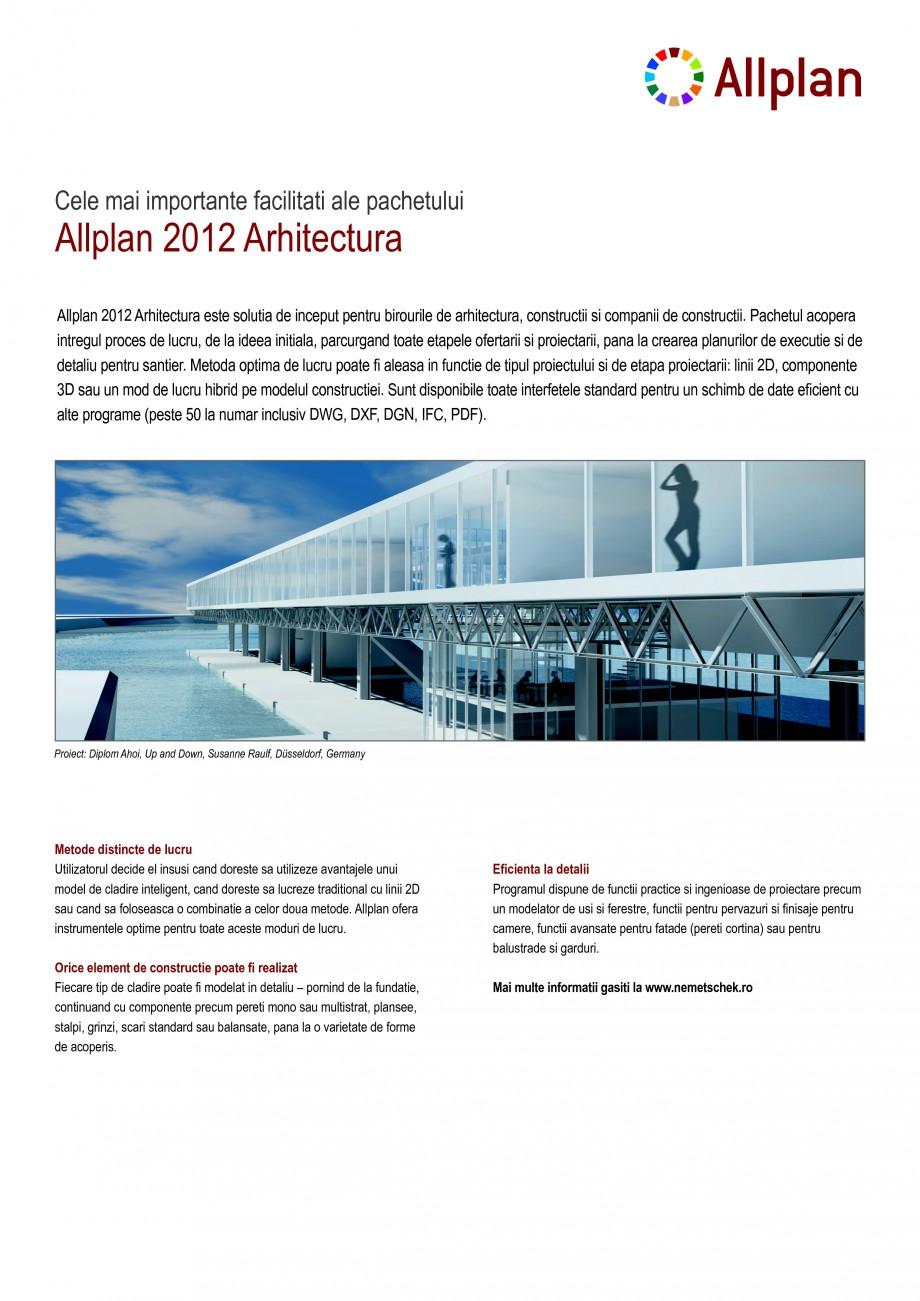 Pagina 1 - Program de proiectare NEMETSCHEK Allplan Arhitectura Fisa tehnica Romana Allplan 2012...