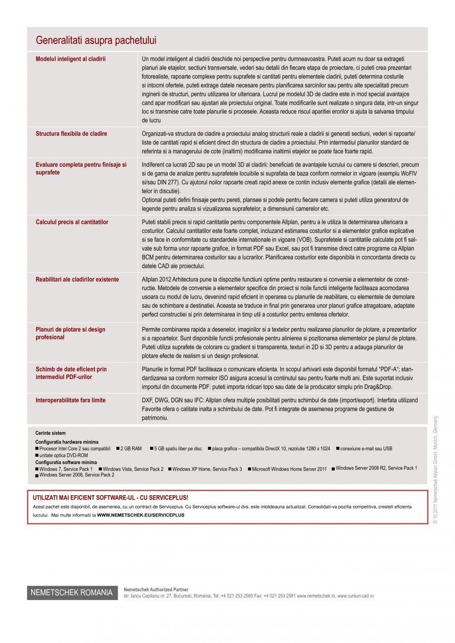 Pagina 2 - Program de proiectare NEMETSCHEK Allplan Arhitectura Fisa tehnica Romana tode. Allplan...