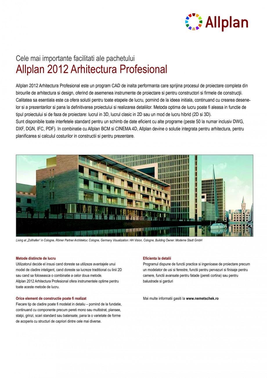 Pagina 1 - Program de proiectare NEMETSCHEK Allplan Arhitectura Profesional Fisa tehnica Romana...