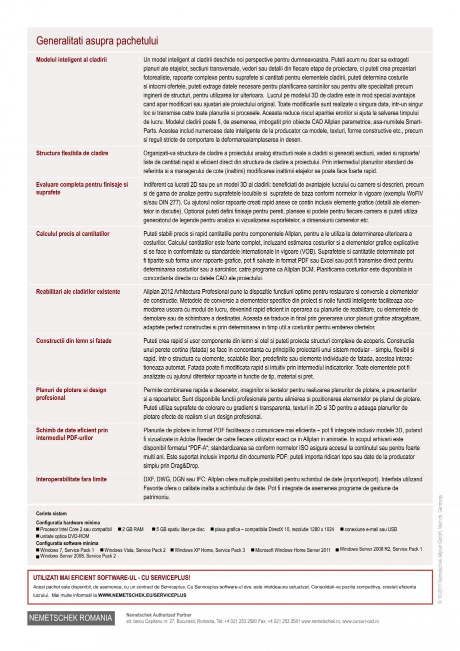 Pagina 2 - Program de proiectare NEMETSCHEK Allplan Arhitectura Profesional Fisa tehnica Romana tru ...