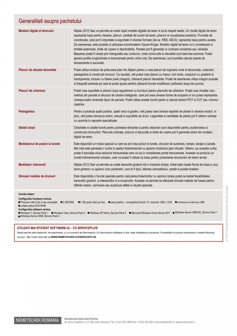 Pagina 2 - Program conex de proiectare NEMETSCHEK Allplan Teren Fisa tehnica Romana l se elimina...