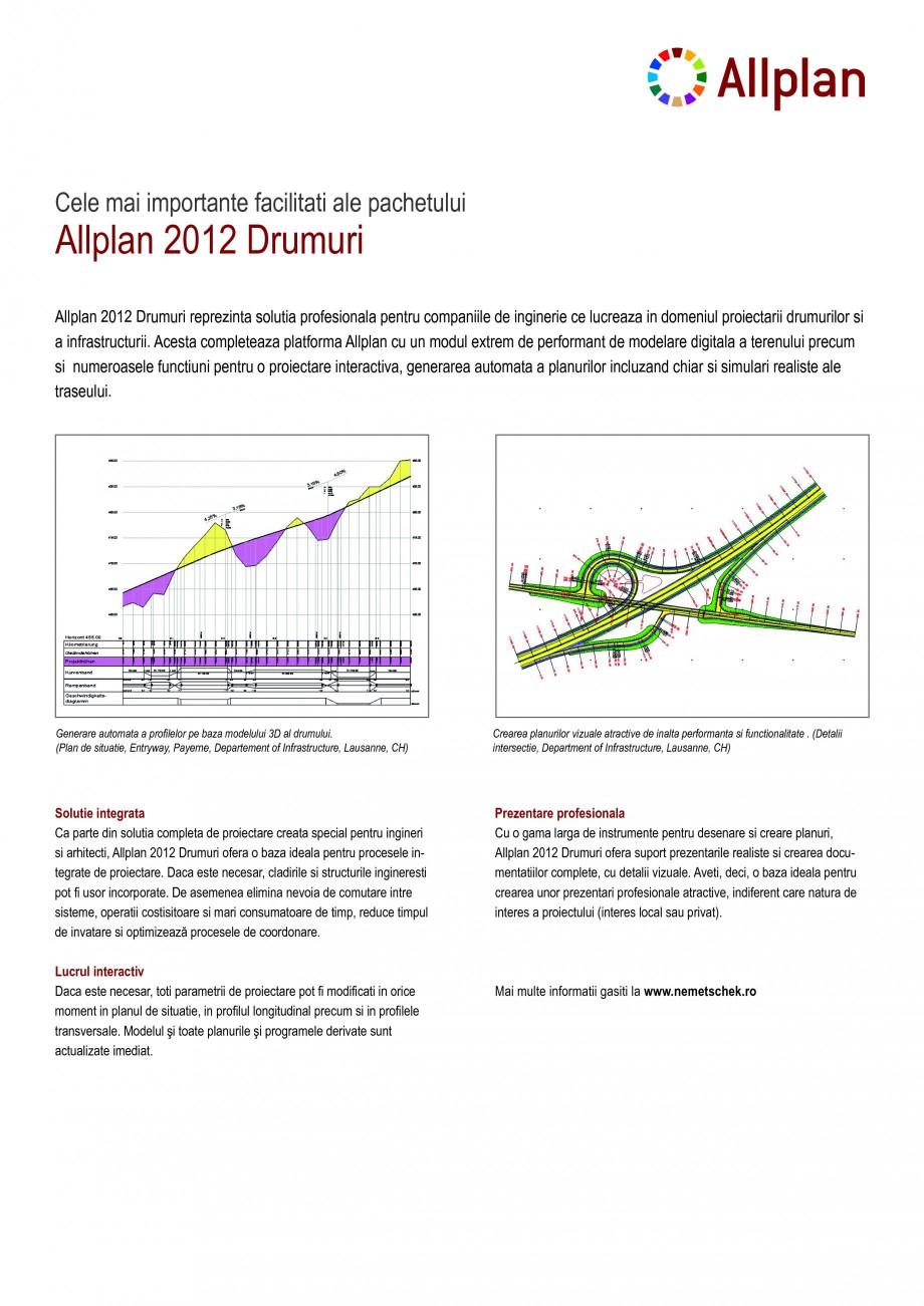 Pagina 1 - Program conex de proiectare NEMETSCHEK Allplan Drumuri Fisa tehnica Romana Allplan 2012...