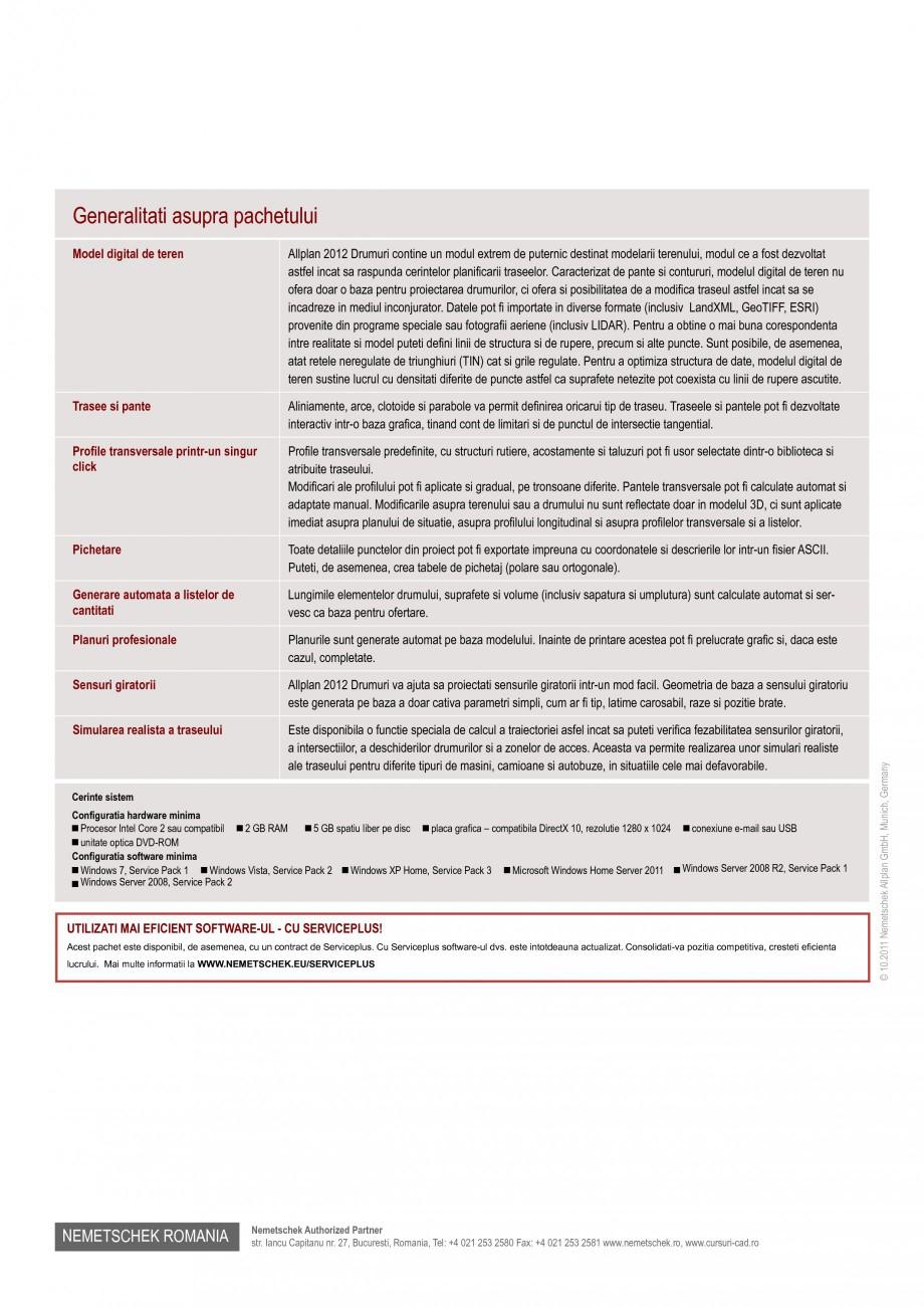 Pagina 2 - Program conex de proiectare NEMETSCHEK Allplan Drumuri Fisa tehnica Romana rile...