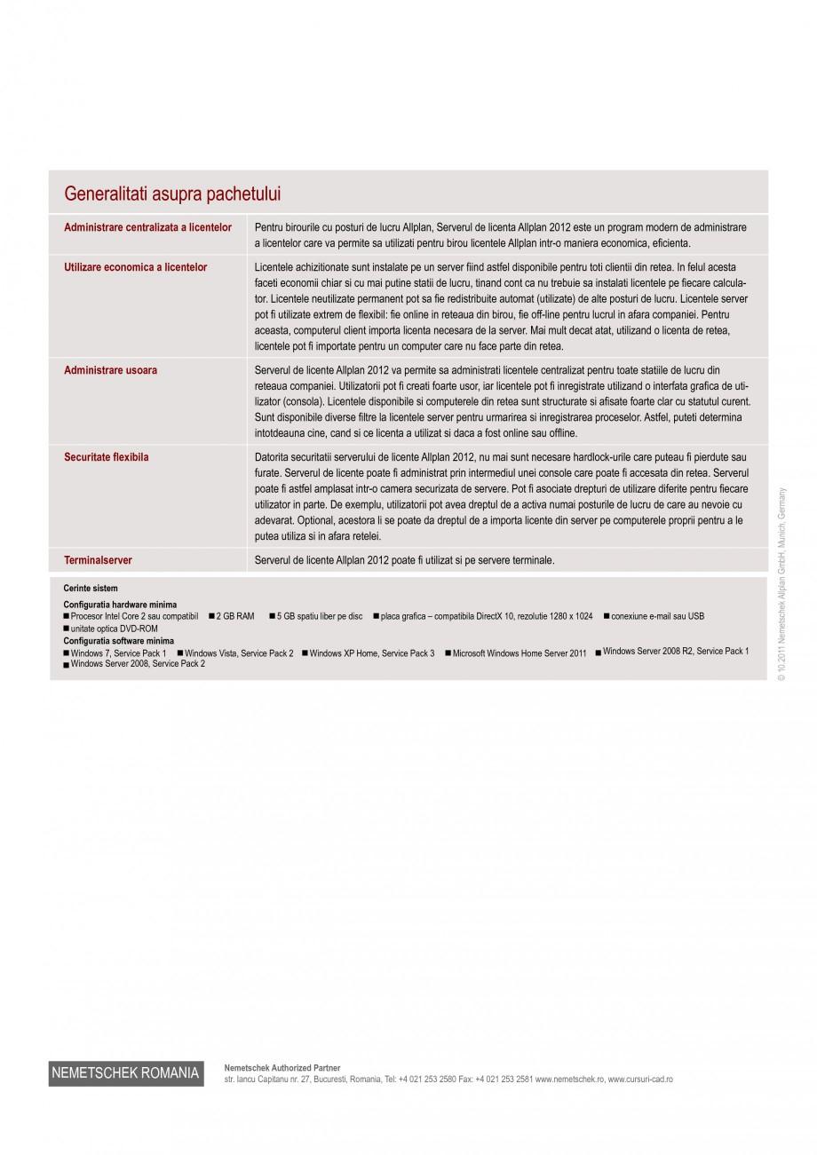 Pagina 2 - Utilitar pentru programele de proiectare NEMETSCHEK Allplan Server Licente Fisa tehnica...