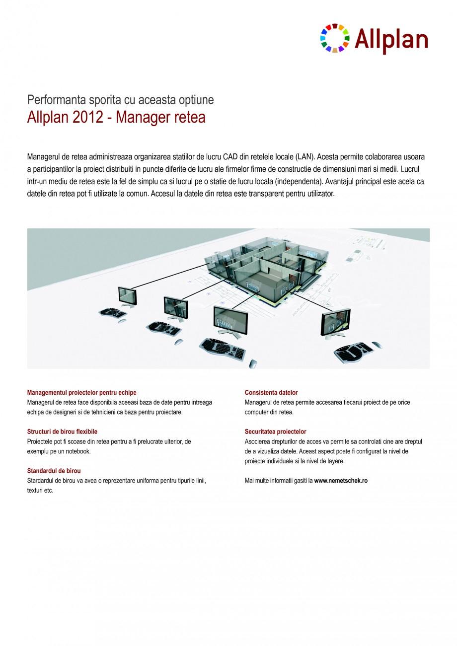 Pagina 1 - Utilitar pentru programele de proiectare NEMETSCHEK Allplan Manager retea Fisa tehnica...
