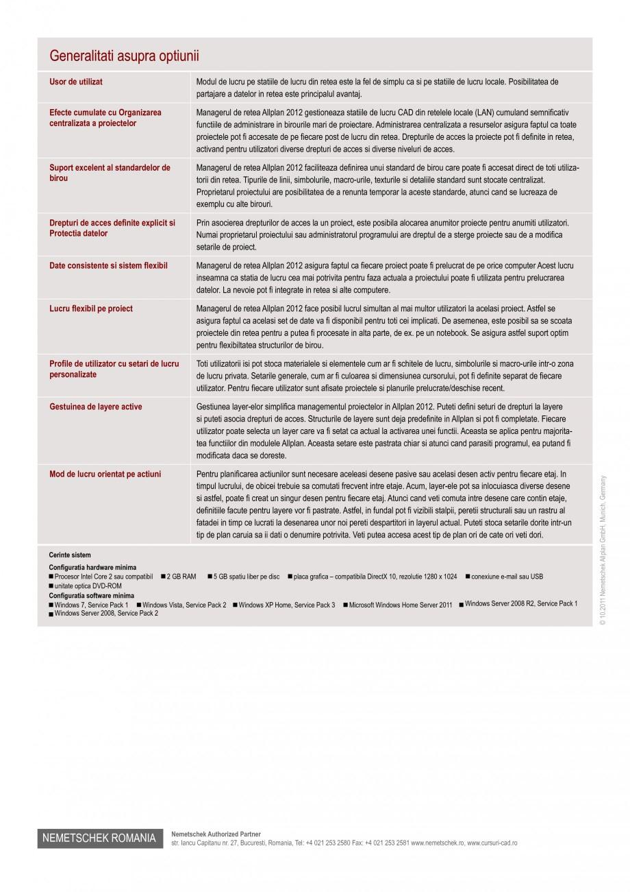 Pagina 2 - Utilitar pentru programele de proiectare NEMETSCHEK Allplan Manager retea Fisa tehnica...