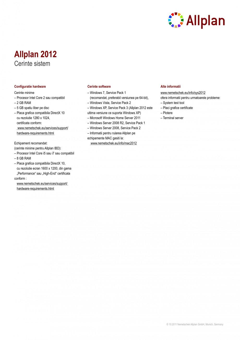 Pagina 1 - Cerinte de sistem pentru programele de proiectare NEMETSCHEK Allplan Arhitectura, Allplan...