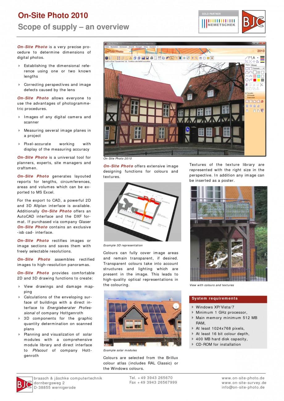Pagina 1 - Program pentru restaurari si realizari releve NEMETSCHEK On-Site Photo Fisa tehnica...