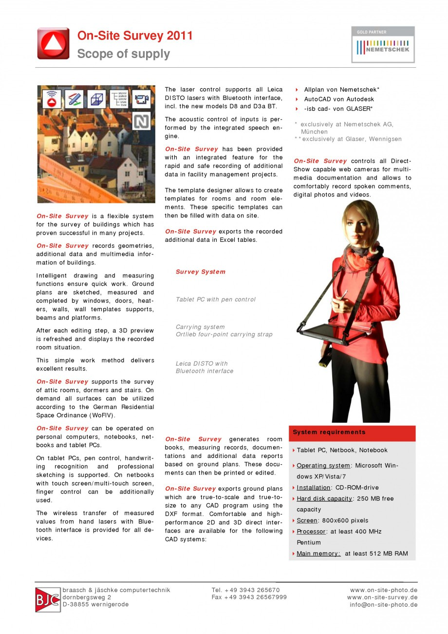Pagina 1 - Program pentru restaurari si realizari releve NEMETSCHEK On-Site Survey Fisa tehnica...