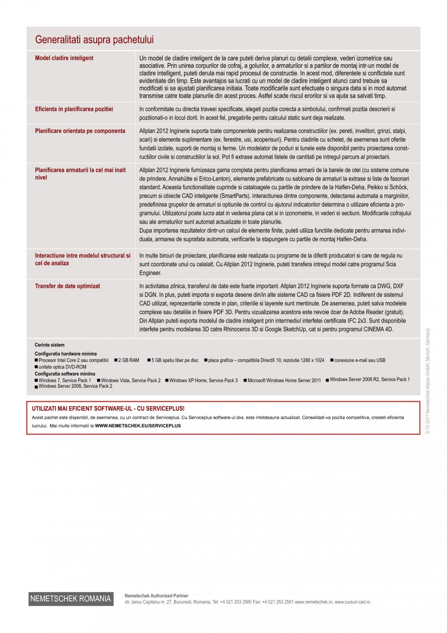 Pagina 2 - Program de proiectare NEMETSCHEK Allplan Inginerie Expert Fisa tehnica Romana mult mai...