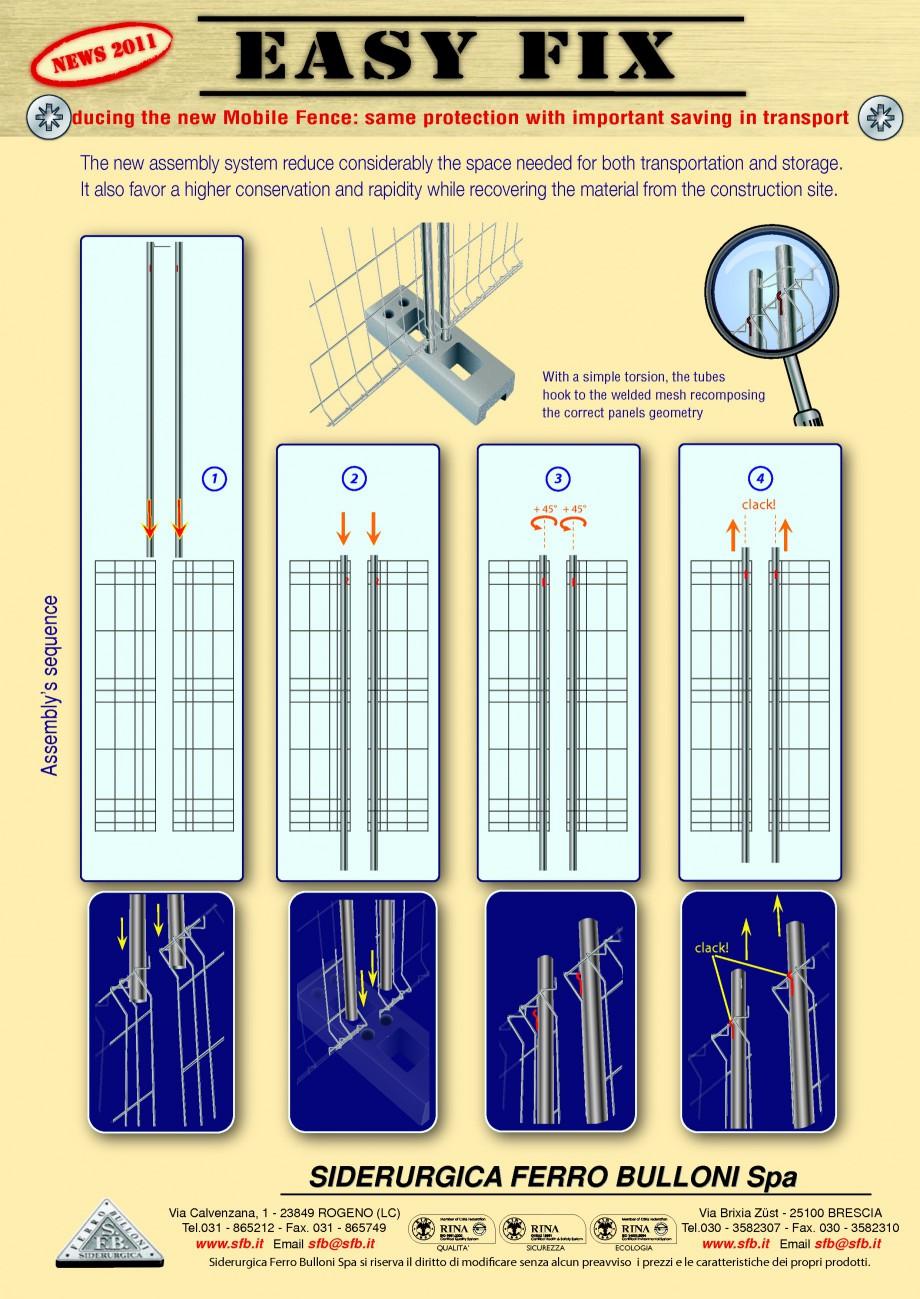 Pagina 1 - Garduri mobile EASY FIX BULLONI Cornice, Cornice Orange, Grecato, Standard Fisa tehnica...