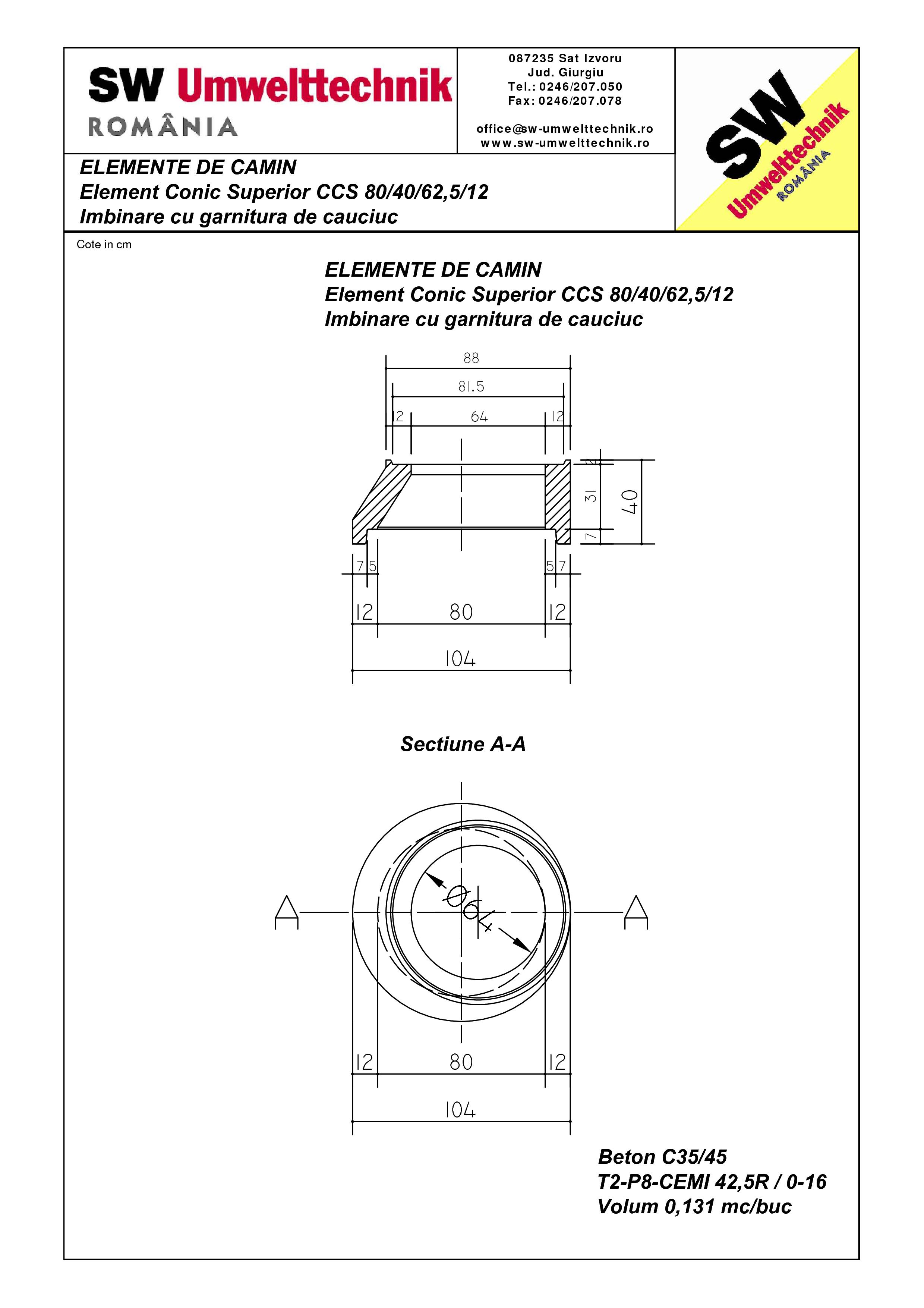 Pagina 1 - CAD-PDF Element conic superior CCS 80.40.62,5.12 SW UMWELTTECHNIK Detaliu de produs