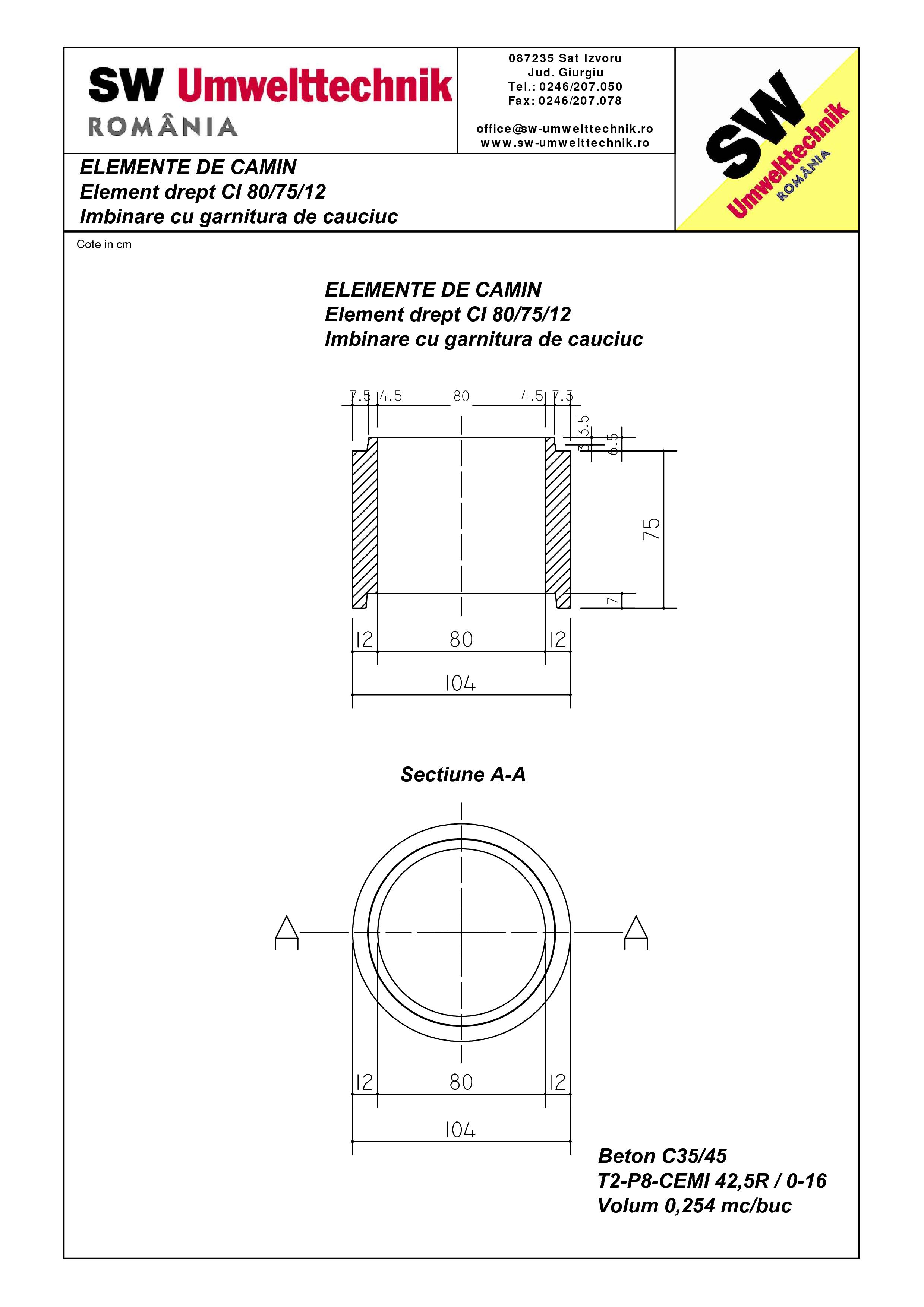 Pagina 1 - CAD-PDF Element drept - inel CI 80.75.12 SW UMWELTTECHNIK Detaliu de produs