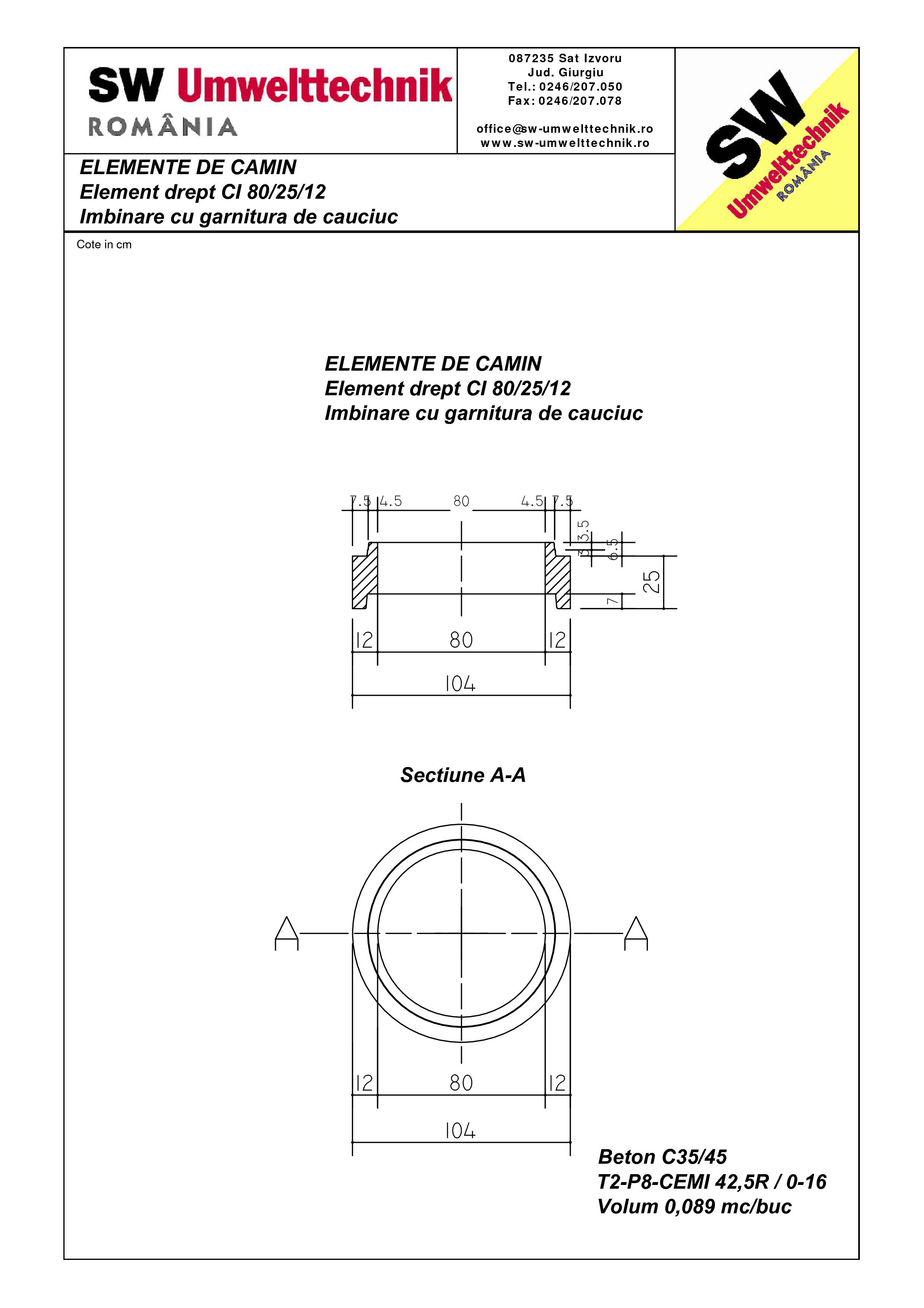 Pagina 1 - CAD-PDF Element drept - inel CI 80.25.12 SW UMWELTTECHNIK Detaliu de produs