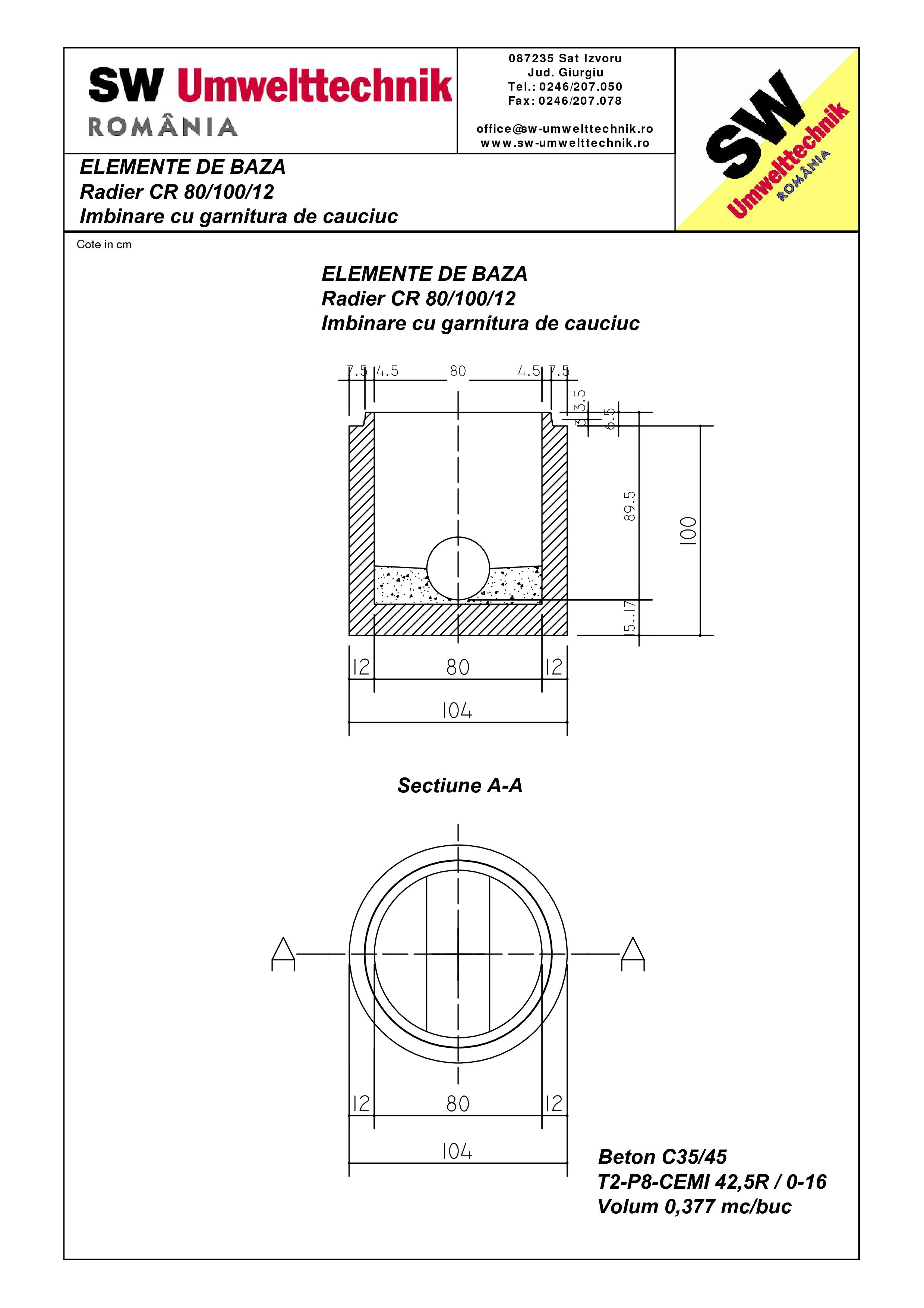 Pagina 1 - CAD-PDF Radier CR80.100.12 SW UMWELTTECHNIK Detaliu de produs