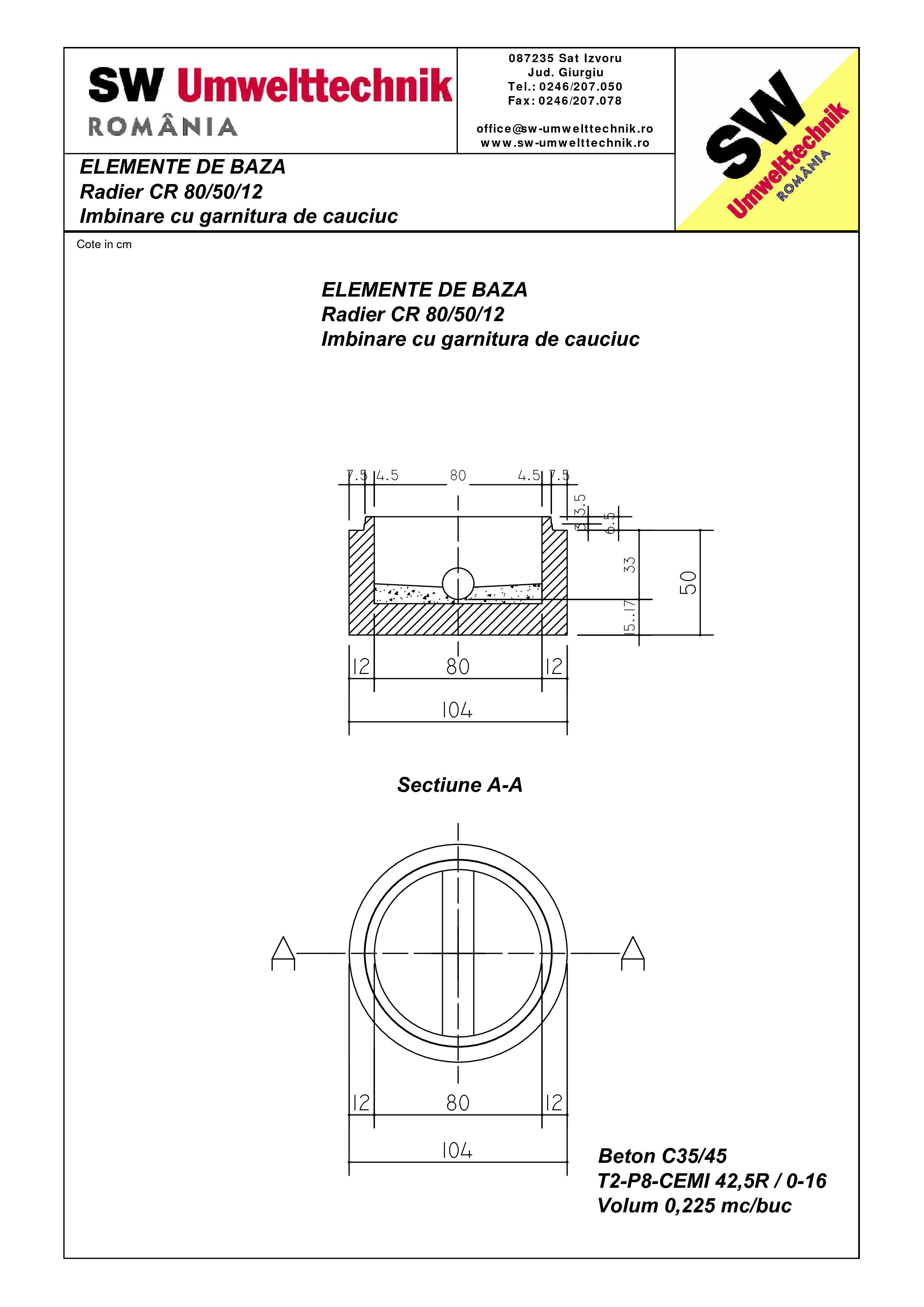 Pagina 1 - CAD-PDF Radier CR80.50.12 SW UMWELTTECHNIK Detaliu de produs