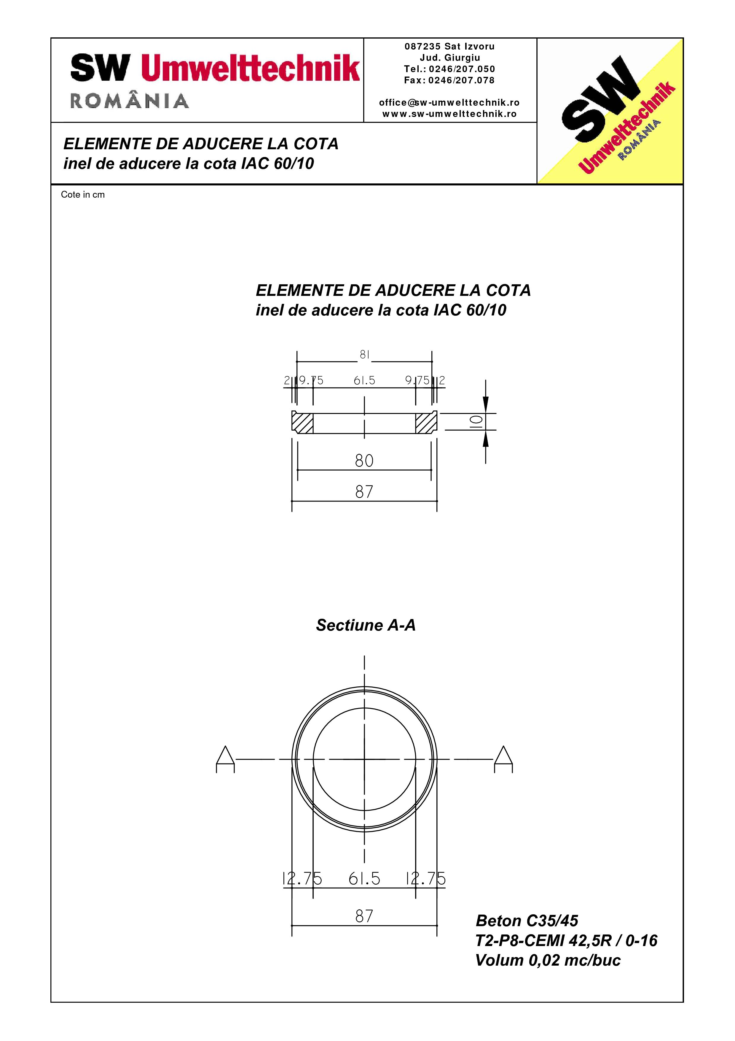 Pagina 1 - CAD-PDF Inel de aducere la cota IAC 60.10 SW UMWELTTECHNIK Detaliu de produs