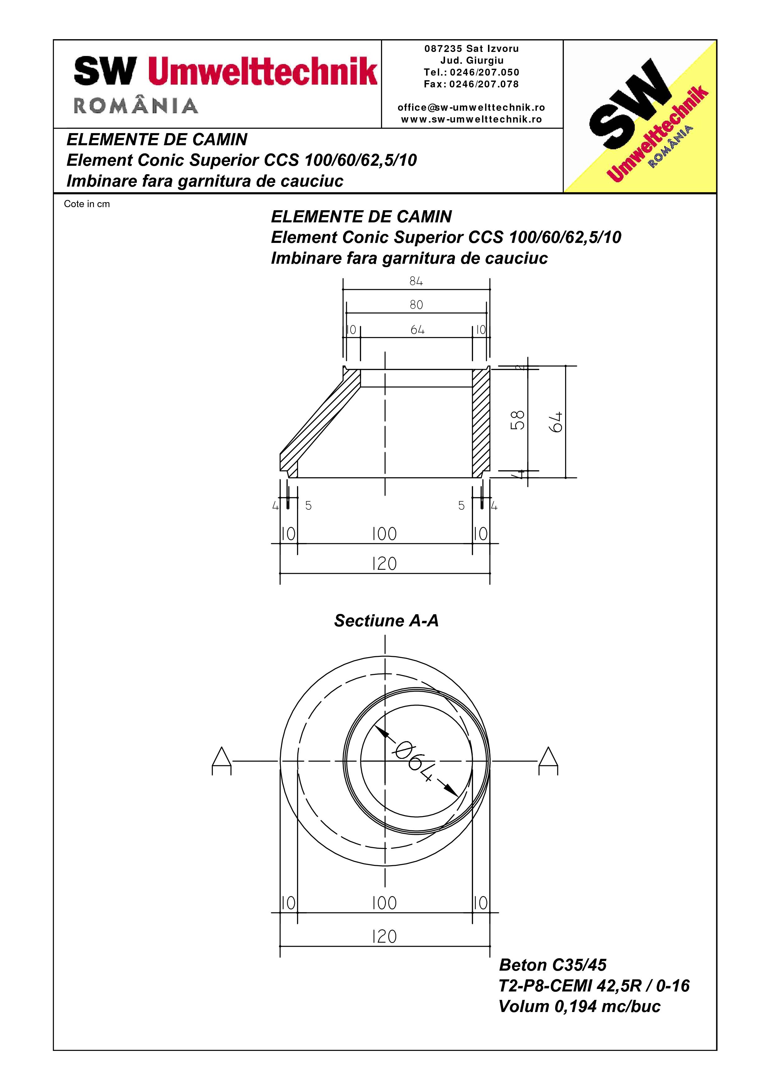 Pagina 1 - CAD-PDF Element conic superior CCS 100.60.62,5.10 SW UMWELTTECHNIK Detaliu de produs