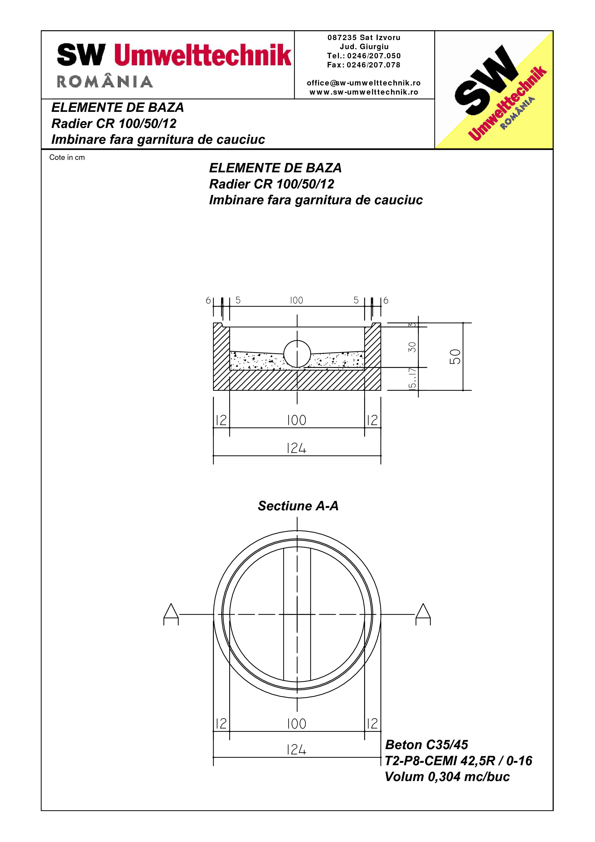 Pagina 1 - CAD-PDF Radier CR 100.50.12 SW UMWELTTECHNIK Detaliu de produs