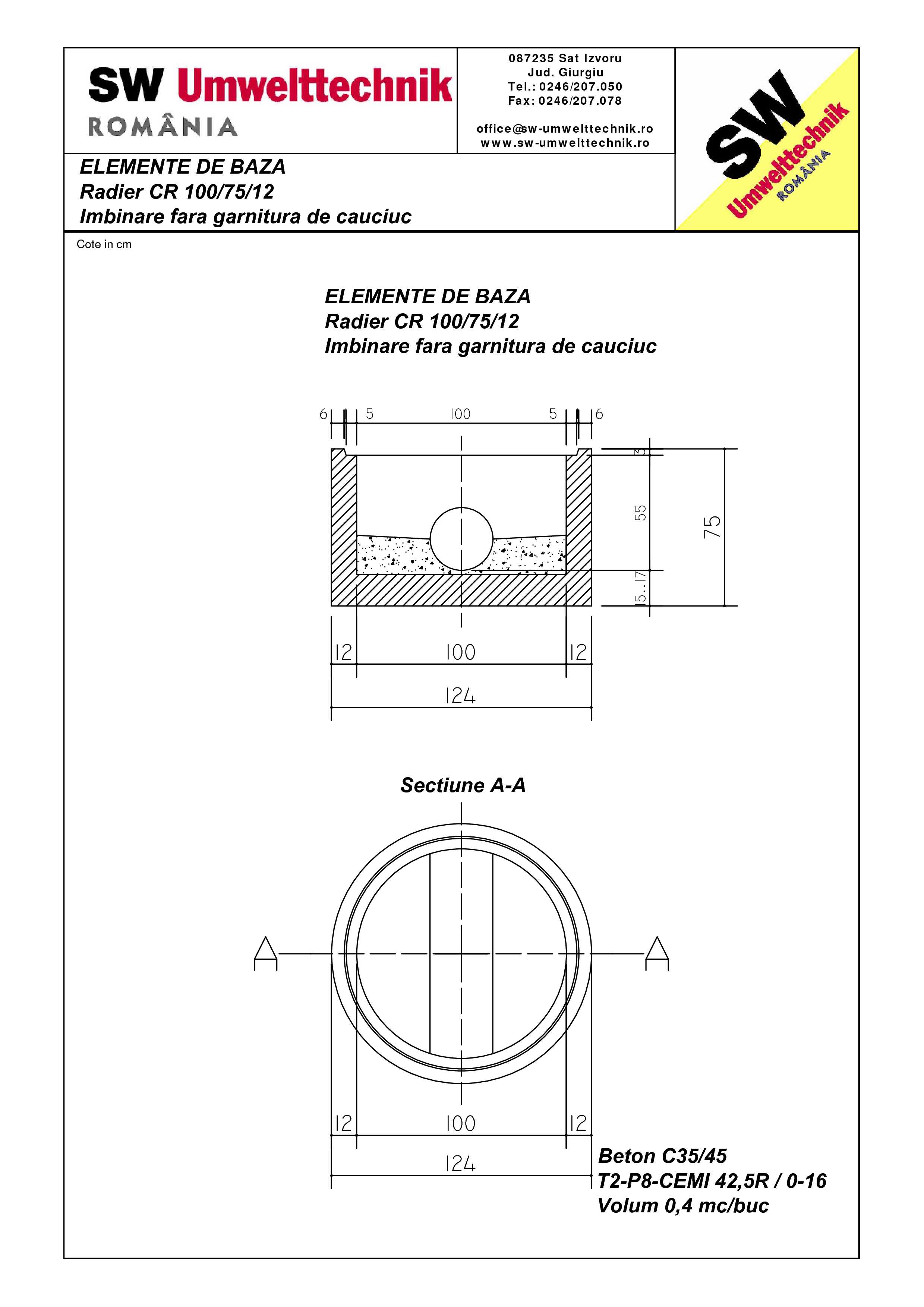 Pagina 1 - CAD-PDF Radier CR 100.75.12 SW UMWELTTECHNIK Detaliu de produs