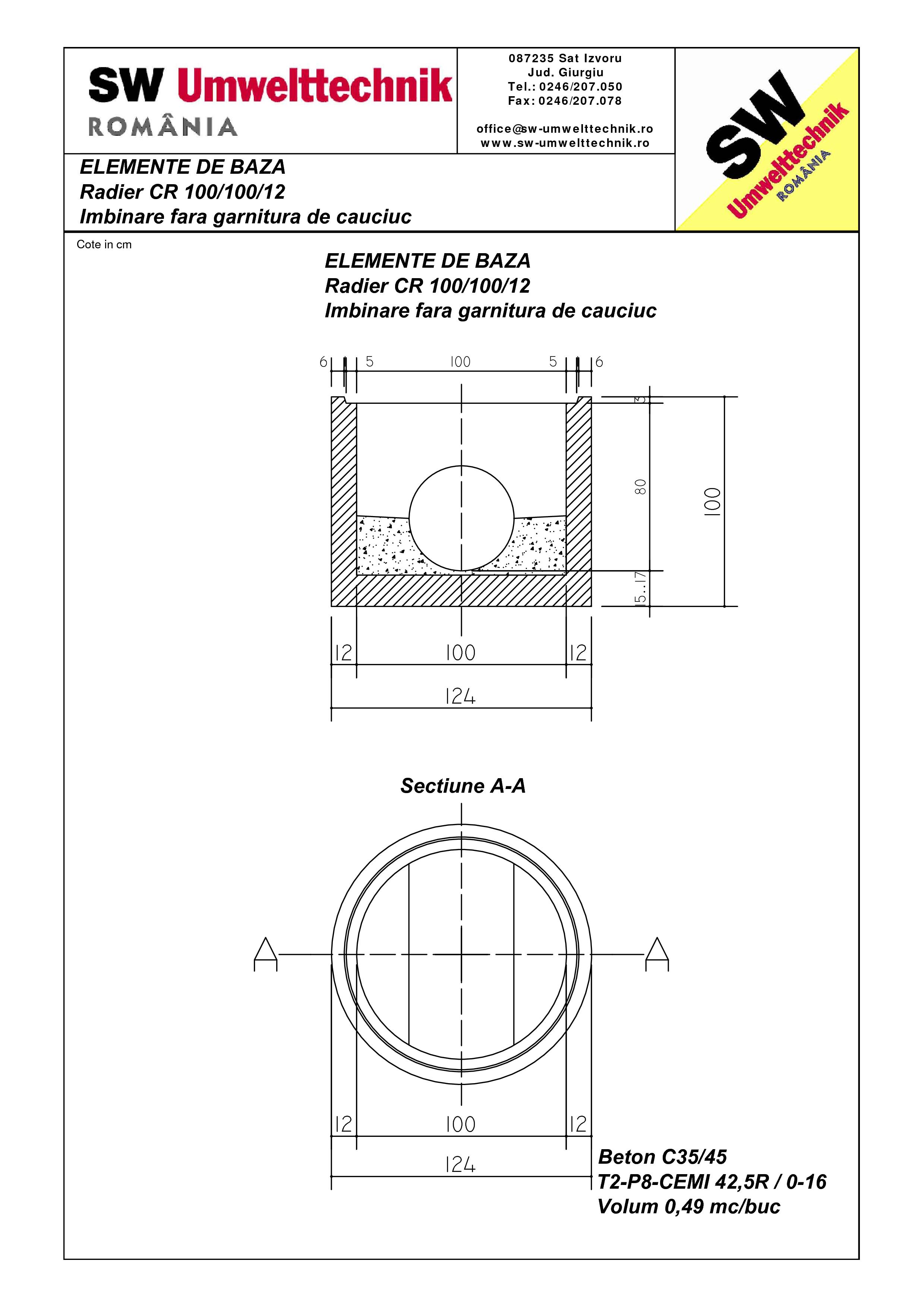 Pagina 1 - CAD-PDF Radier CR 100.100.12 SW UMWELTTECHNIK Detaliu de produs