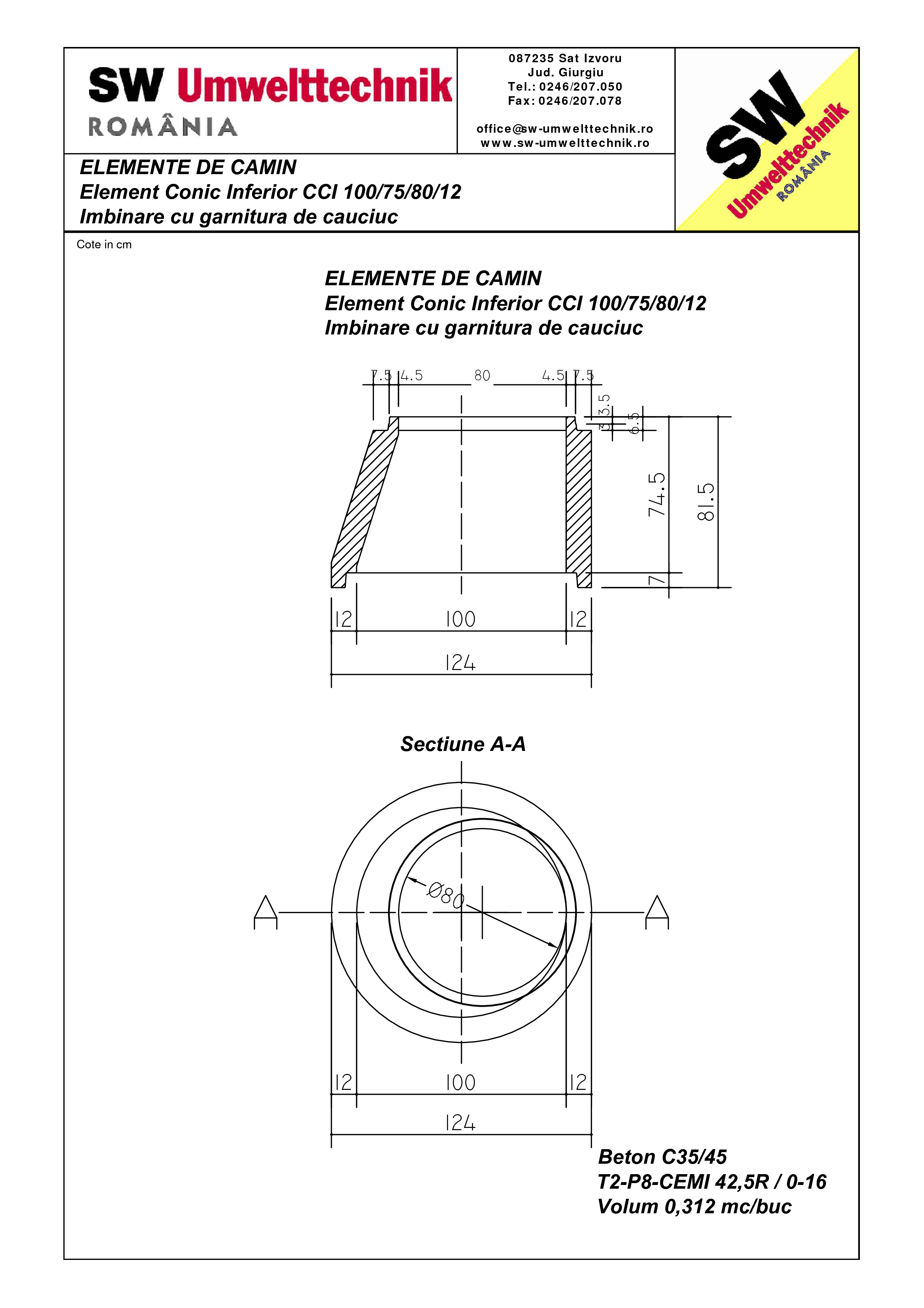 Pagina 1 - CAD-PDF Element conic superior CCI 100.75.80.12 SW UMWELTTECHNIK Detaliu de produs