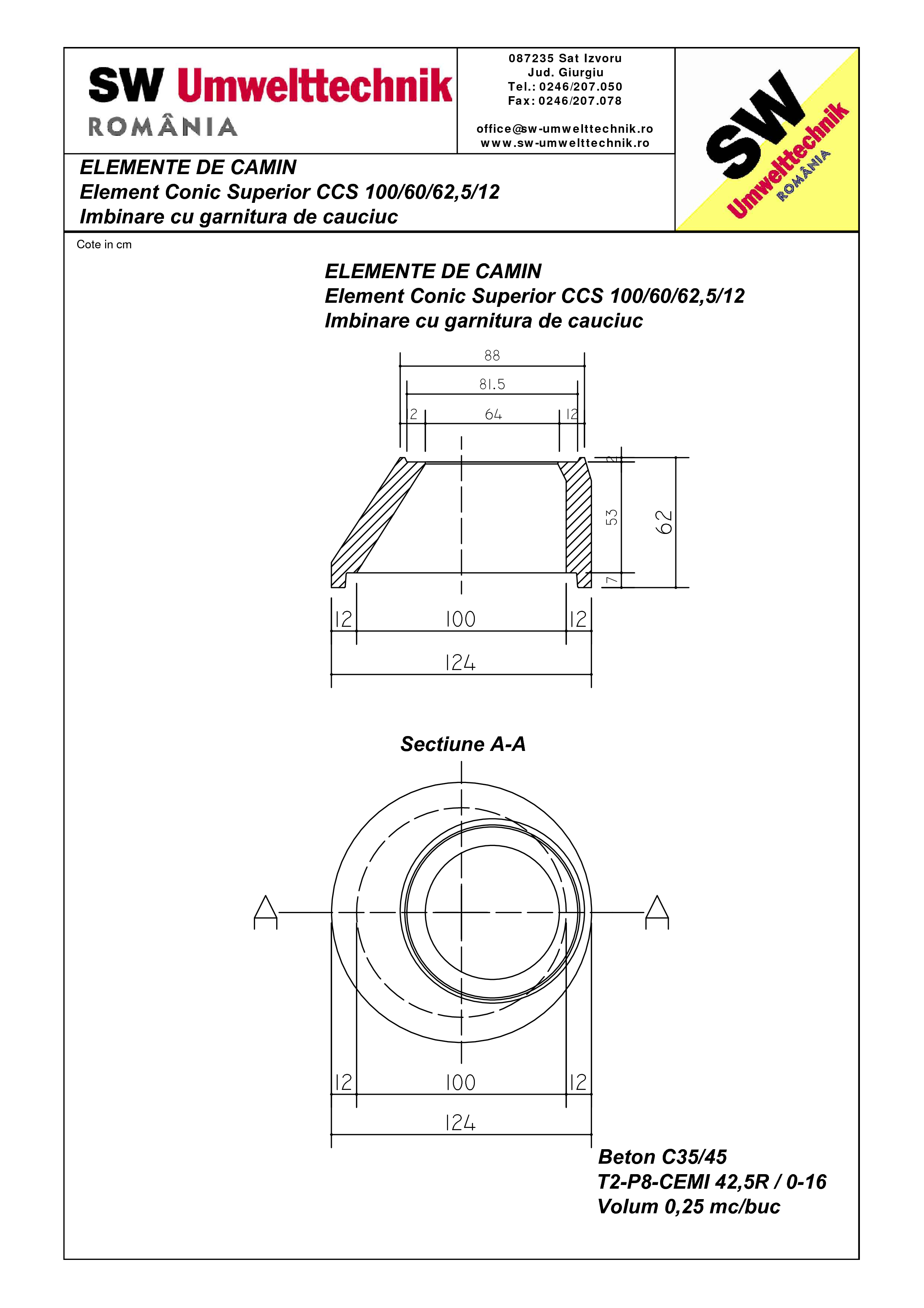 Pagina 1 - CAD-PDF Element conic superior CCS 100.60.62,5.12 SW UMWELTTECHNIK Detaliu de produs