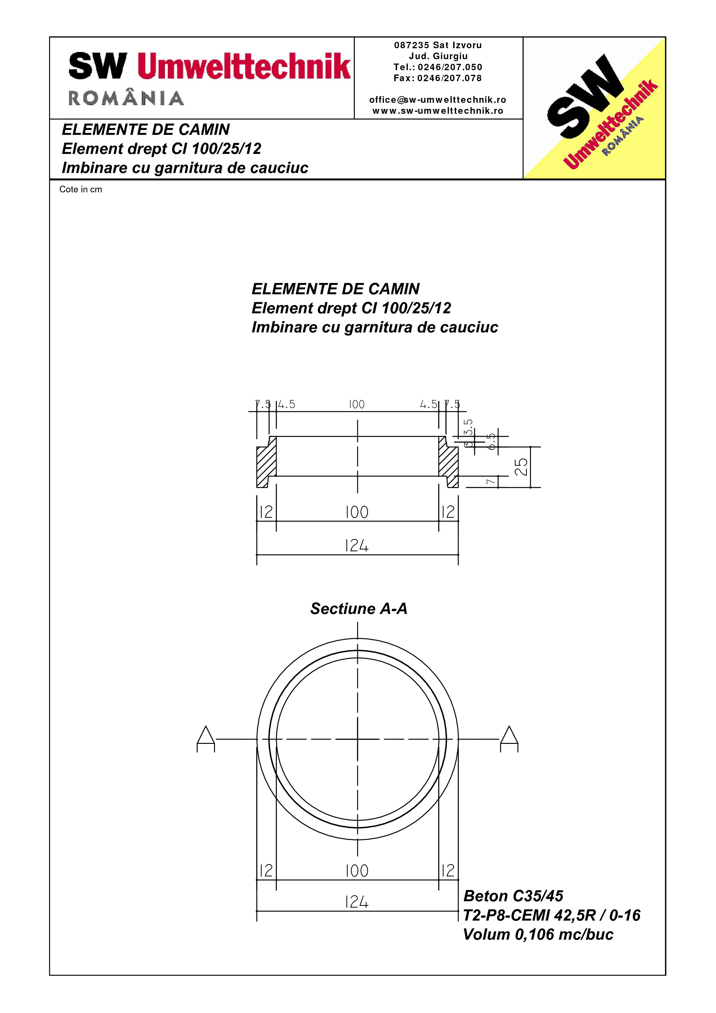 Pagina 1 - CAD-PDF Element drept - inel CI 100.25.12 SW UMWELTTECHNIK Detaliu de produs
