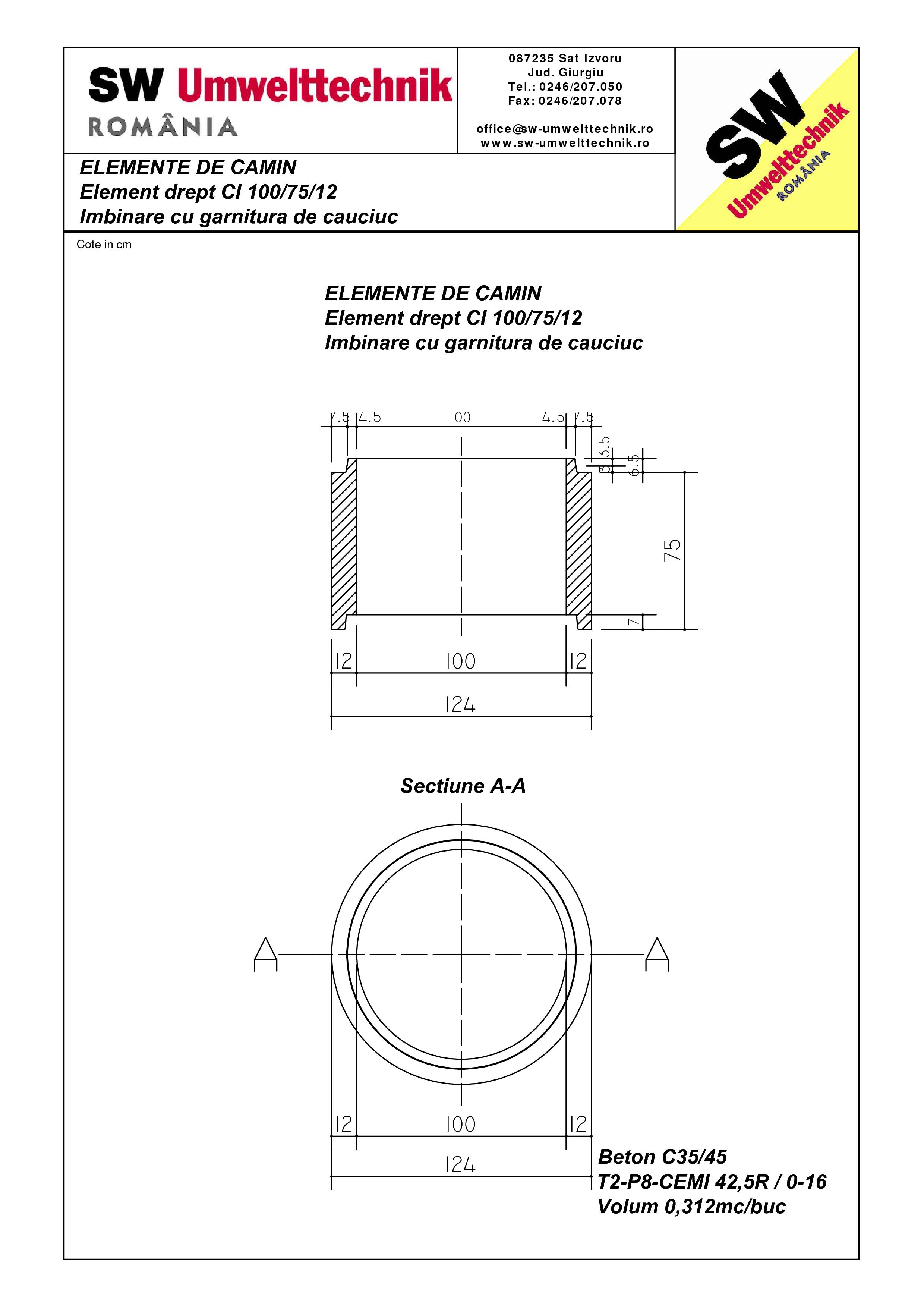 Pagina 1 - CAD-PDF Element drept - inel CI 100.75.12 SW UMWELTTECHNIK Detaliu de produs