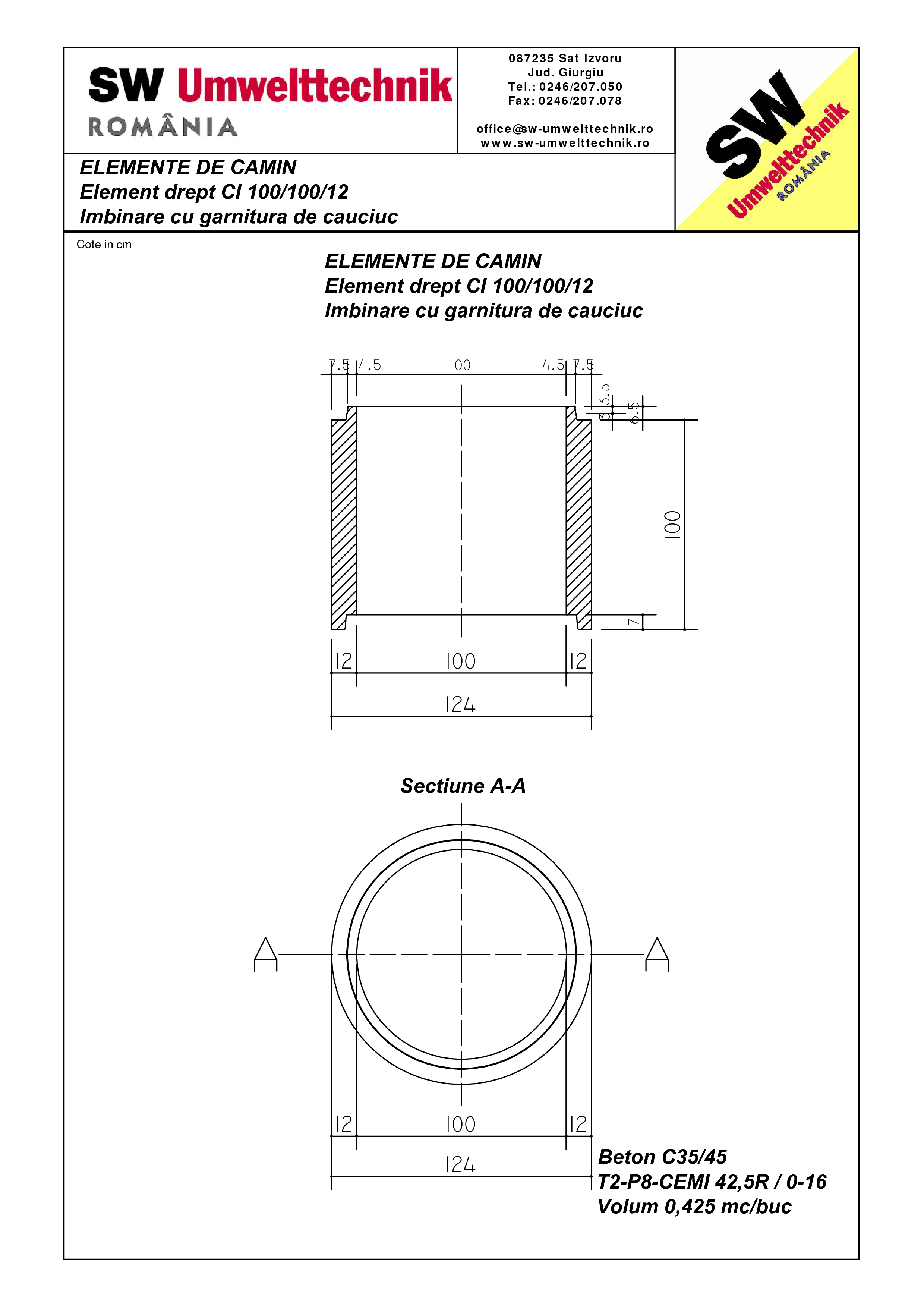 Pagina 1 - CAD-PDF Element drept - inel CI 100.100.12 SW UMWELTTECHNIK Detaliu de produs