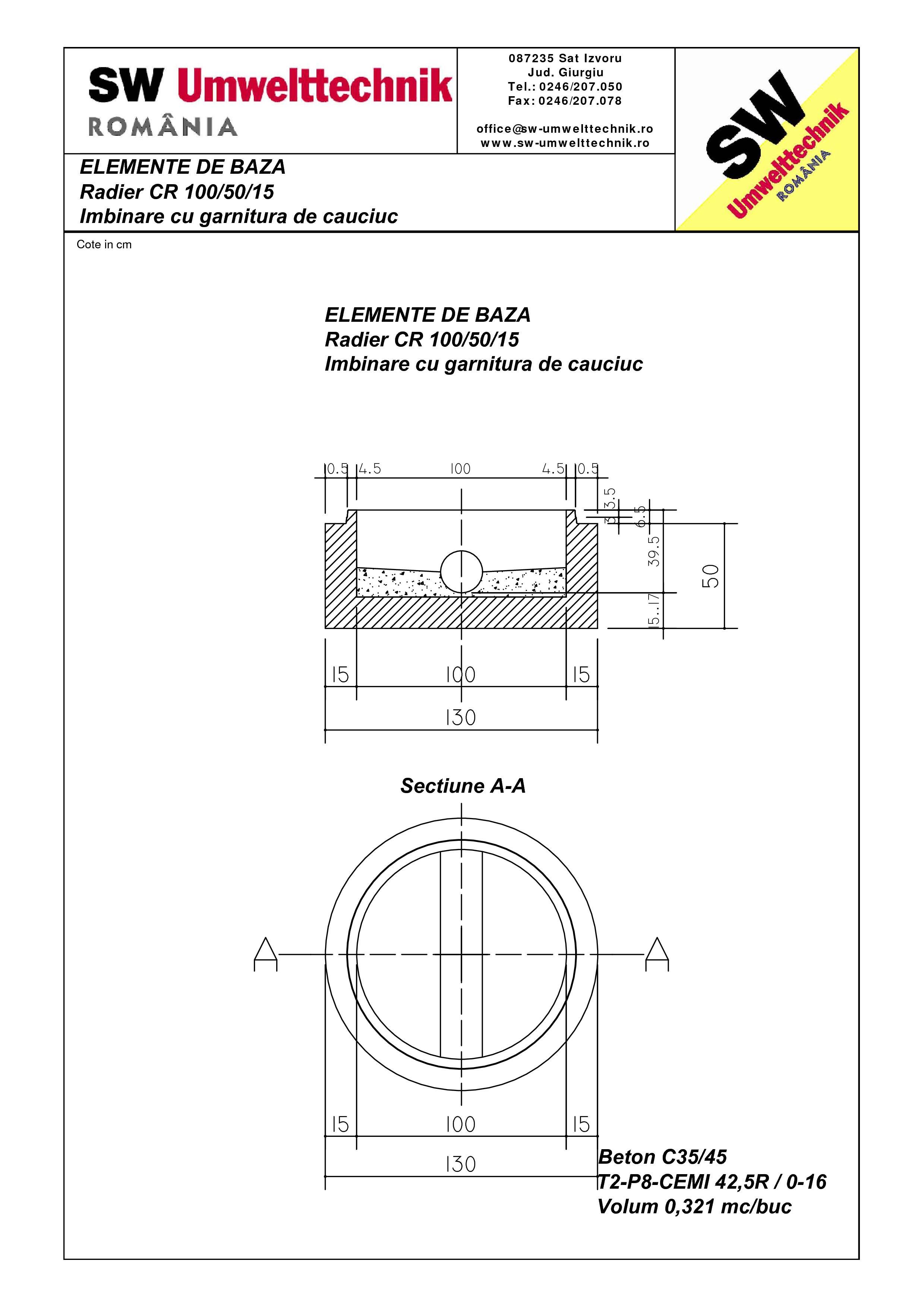 Pagina 1 - CAD-PDF Radier  CR 100.50.15 SW UMWELTTECHNIK Detaliu de produs