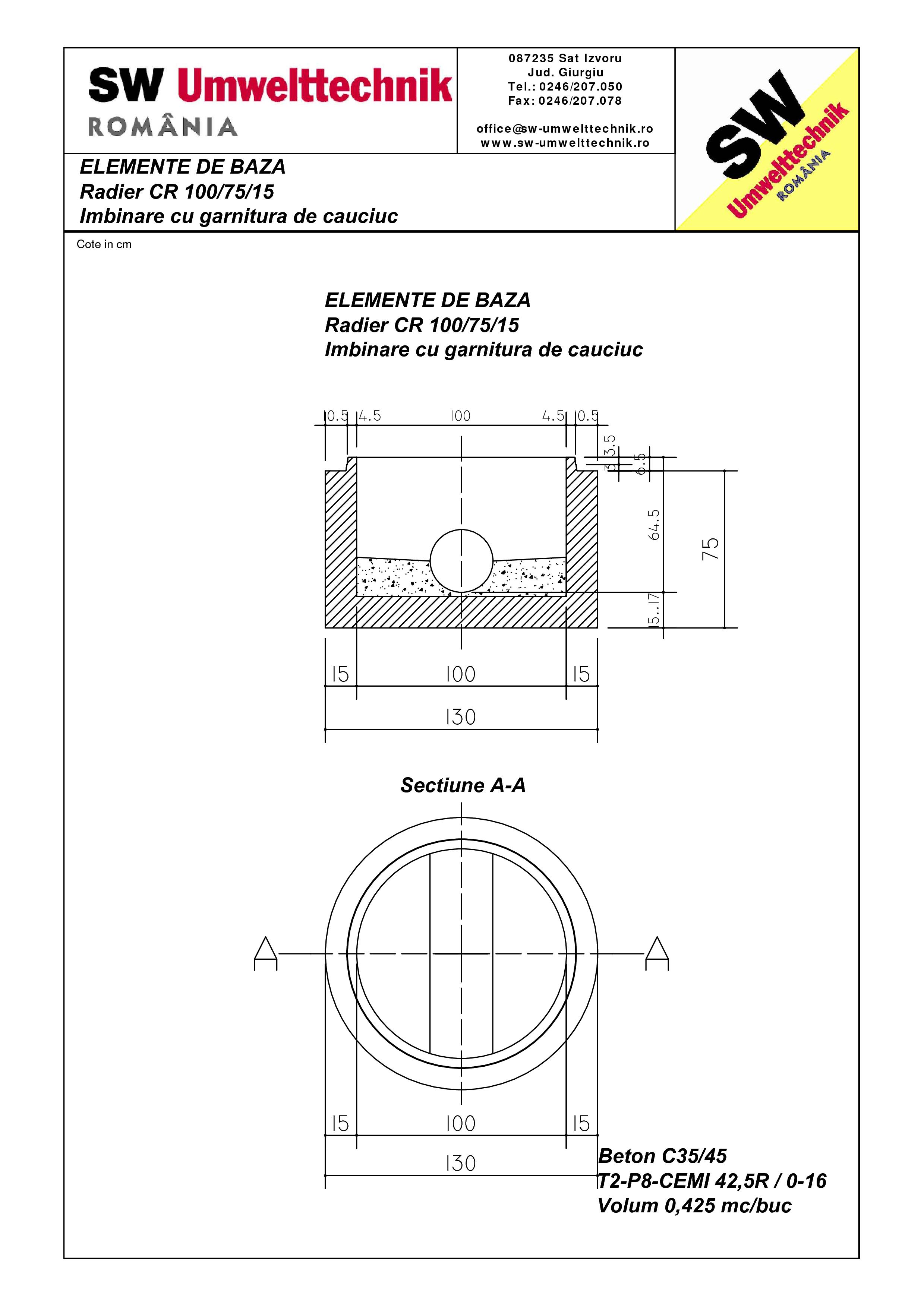 Pagina 1 - CAD-PDF Radier CR 100.75.15 SW UMWELTTECHNIK Detaliu de produs