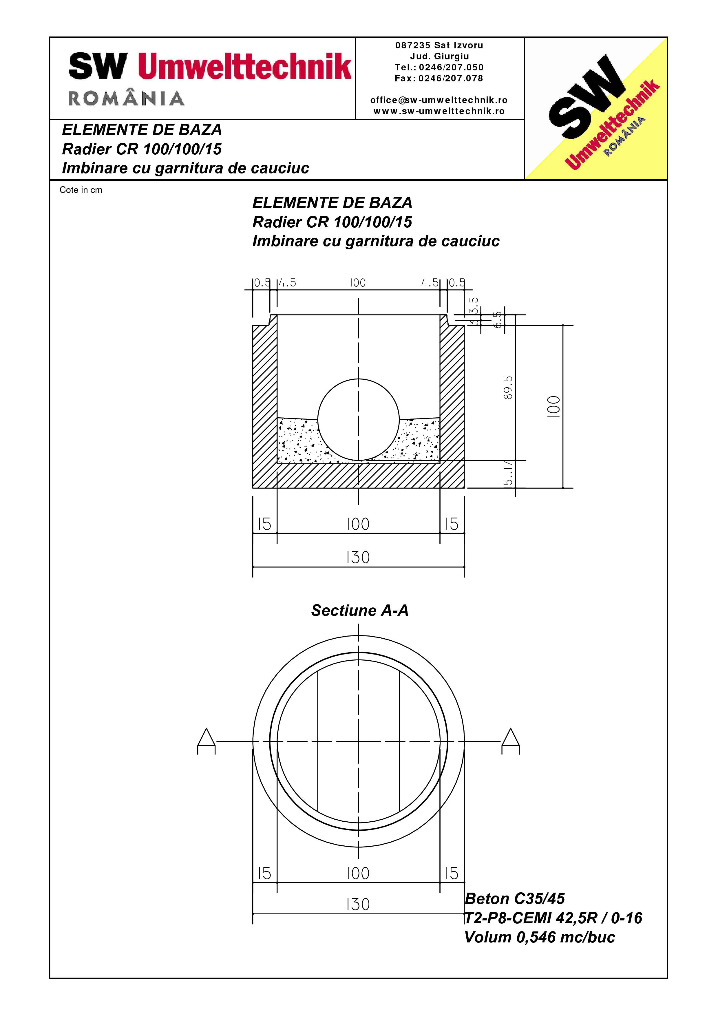 Pagina 1 - CAD-PDF Radier CR 100.100.15 SW UMWELTTECHNIK Detaliu de produs