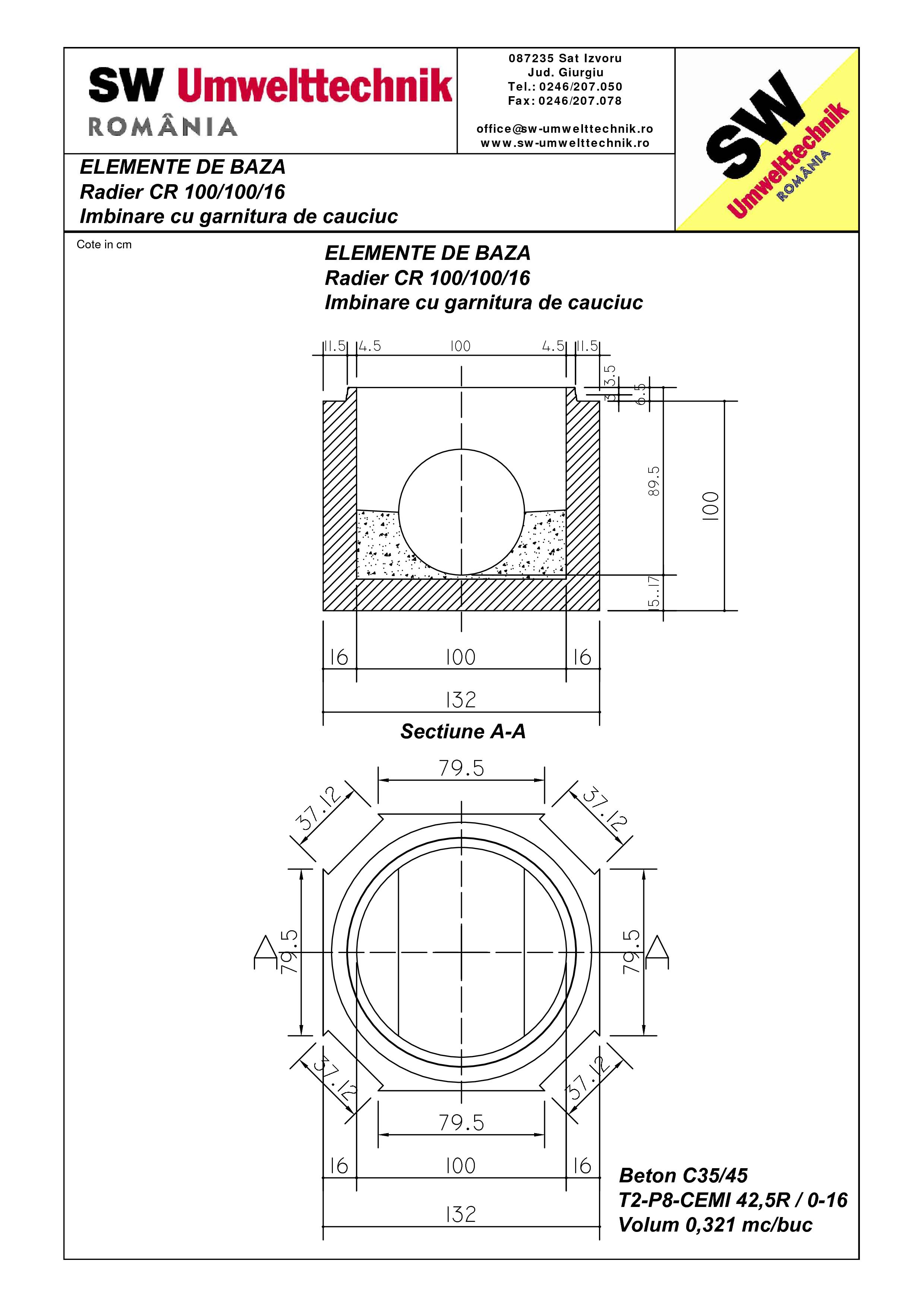 Pagina 1 - CAD-PDF Radier CR 100.100.16 SW UMWELTTECHNIK Detaliu de produs