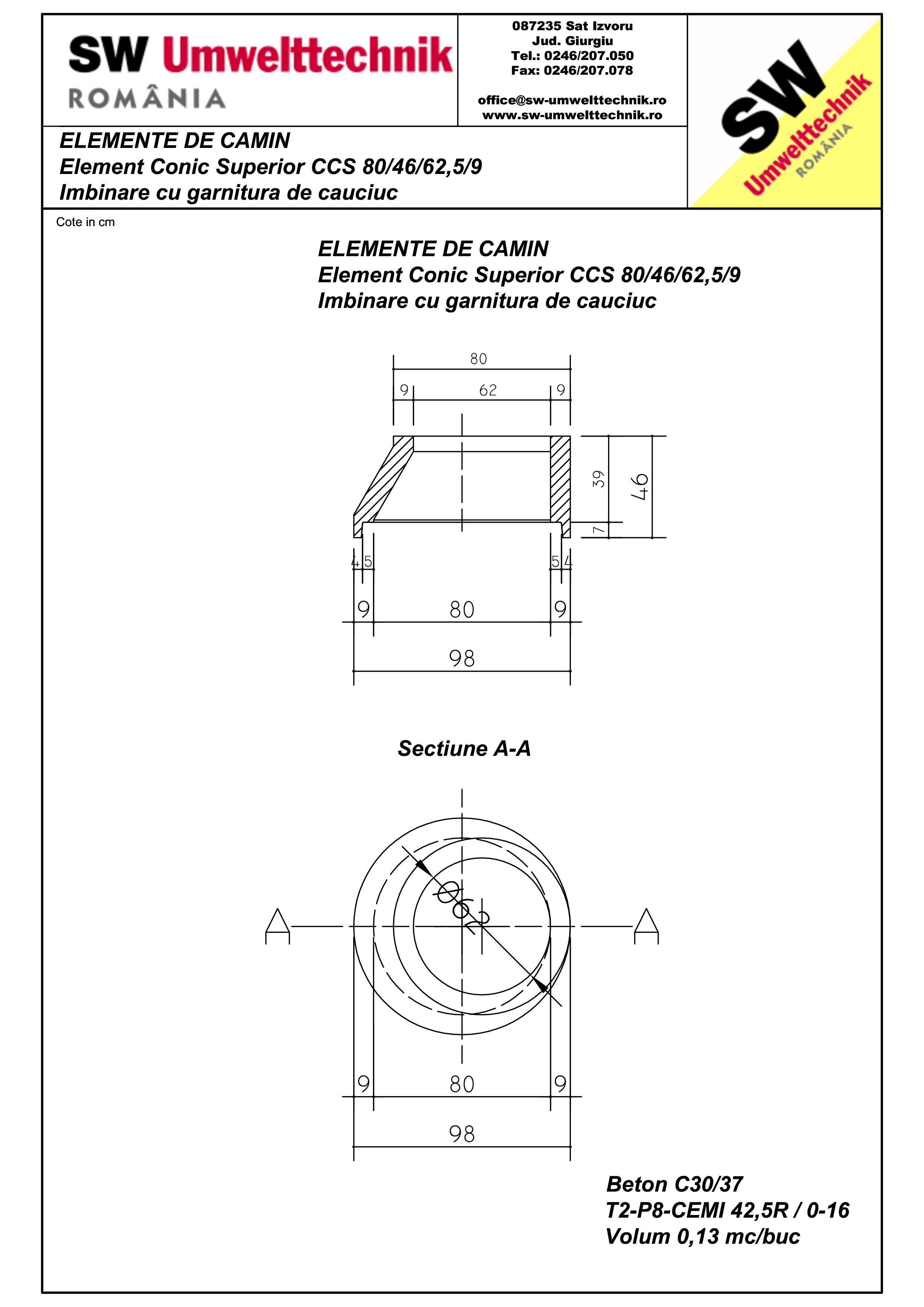 Pagina 1 - CAD-PDF Element conic superior CCS 80.46.62,5.9 SW UMWELTTECHNIK Detaliu de produs
