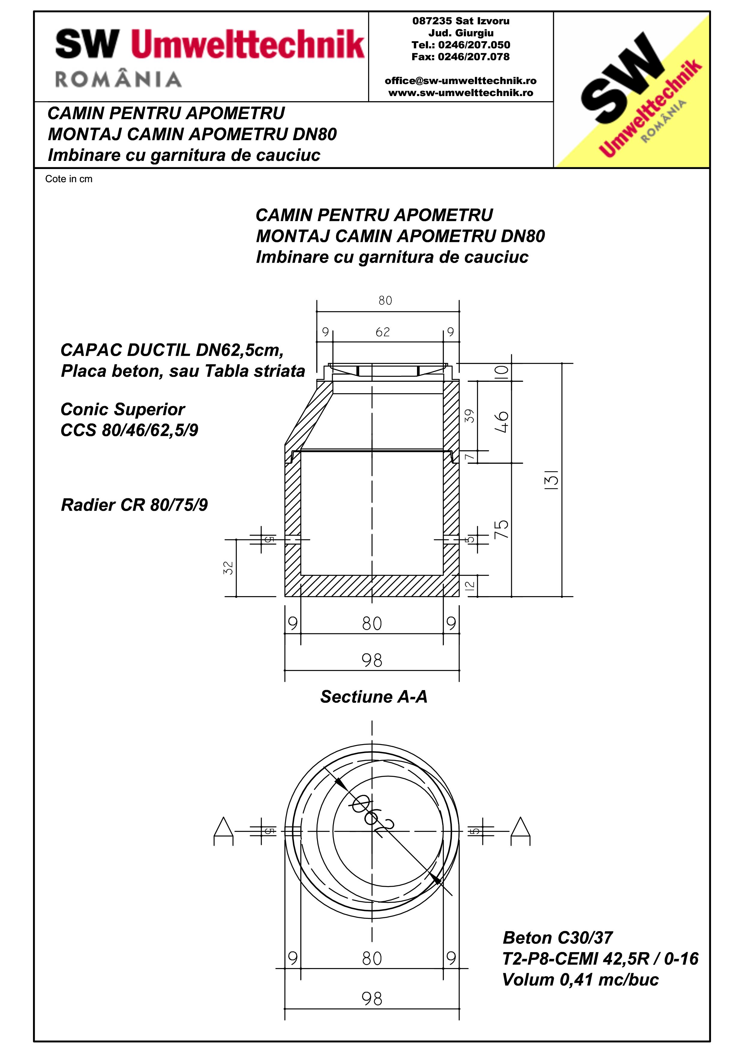 Pagina 1 - CAD-PDF Montaj camin apometru DN80 SW UMWELTTECHNIK Detaliu de produs