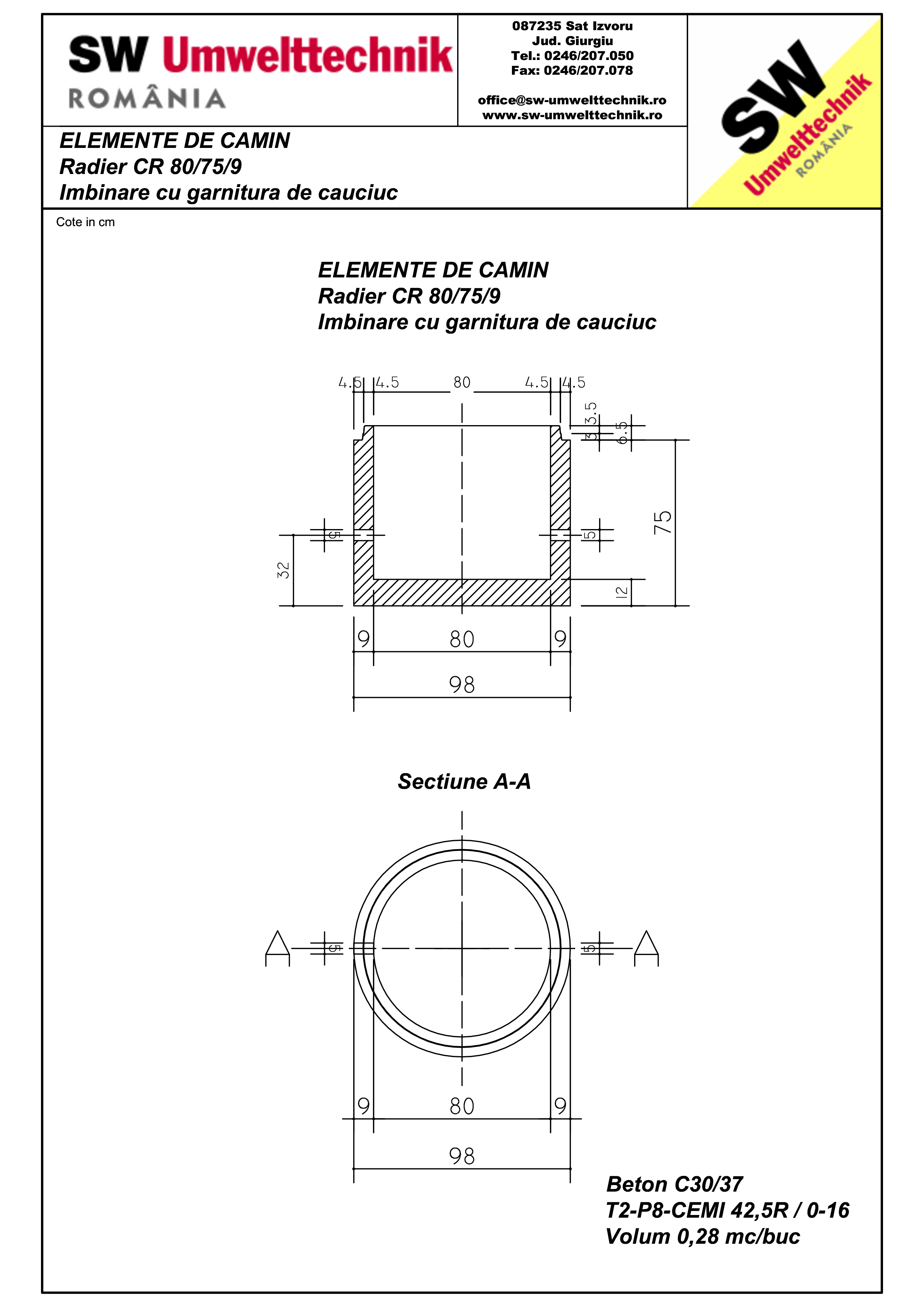 Pagina 1 - CAD-PDF Radier CR80.75.9 SW UMWELTTECHNIK Detaliu de produs