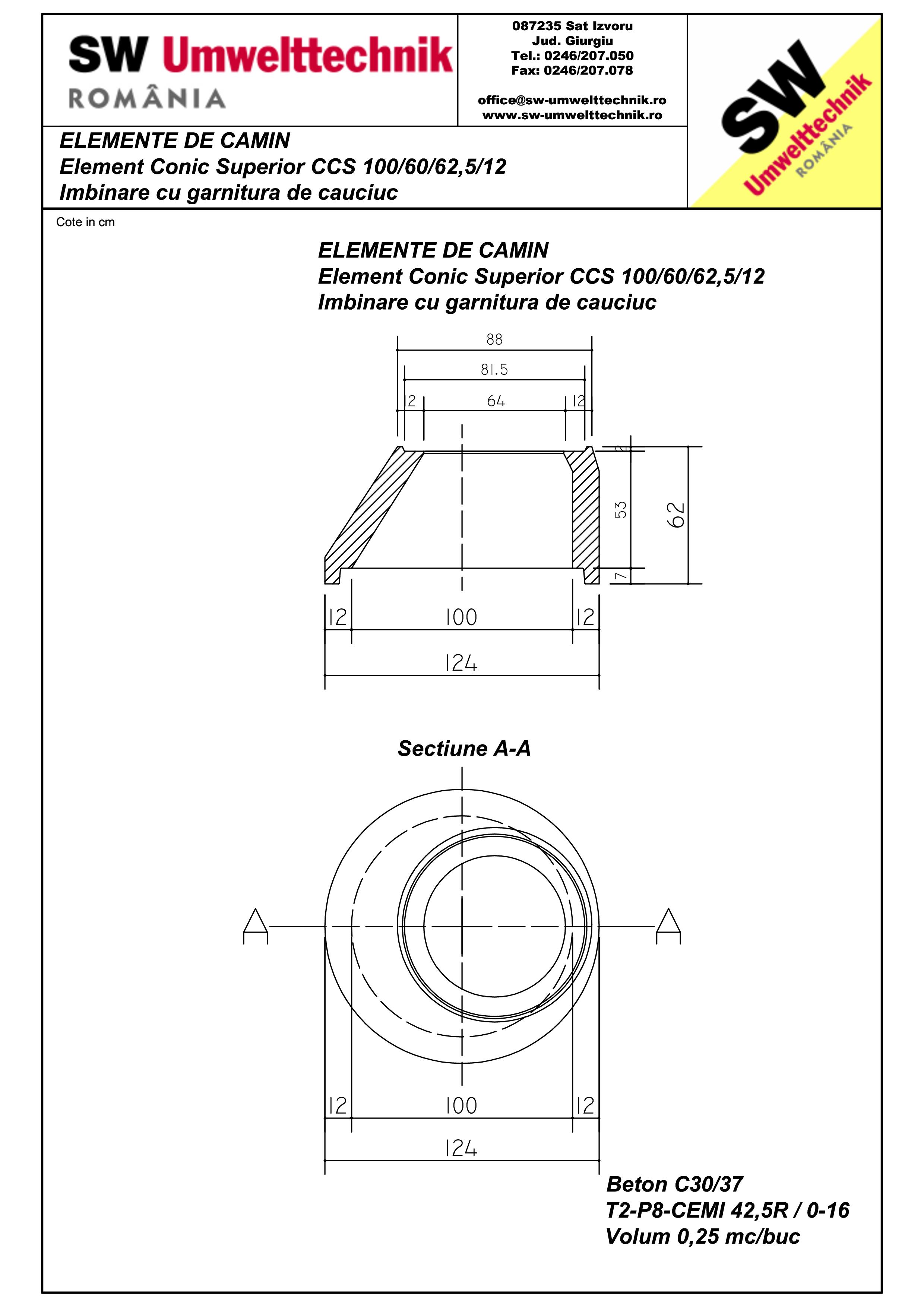 Pagina 1 - CAD-PDF Element conic camin vid DN1000 H60cm SW UMWELTTECHNIK Detaliu de produs