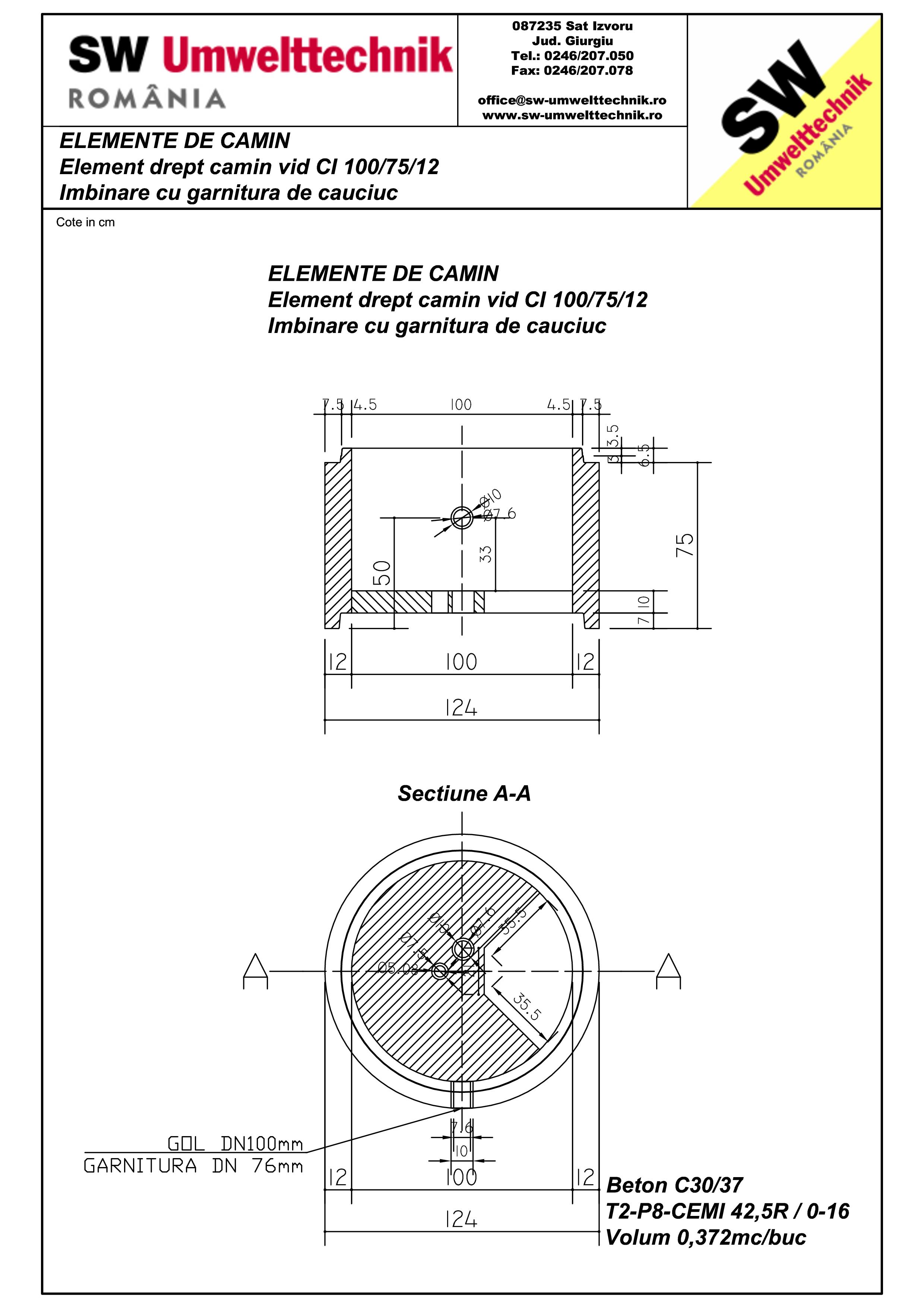 Pagina 1 - CAD-PDF Element drept - inel camin vid DN1000 H75cm SW UMWELTTECHNIK Detaliu de produs