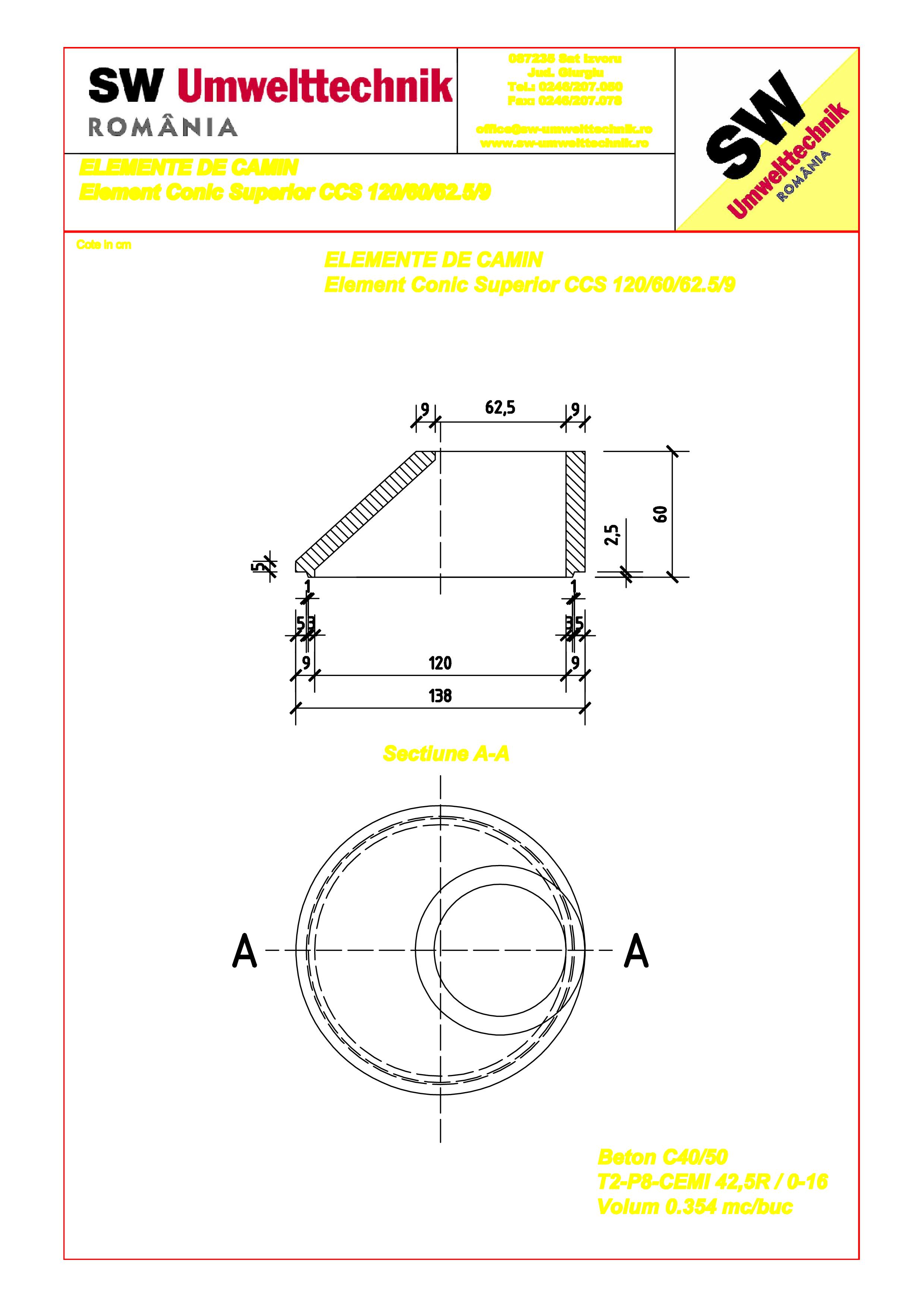 Pagina 1 - CAD-PDF Element conic superior DN120 H60 SW UMWELTTECHNIK Detaliu de produs