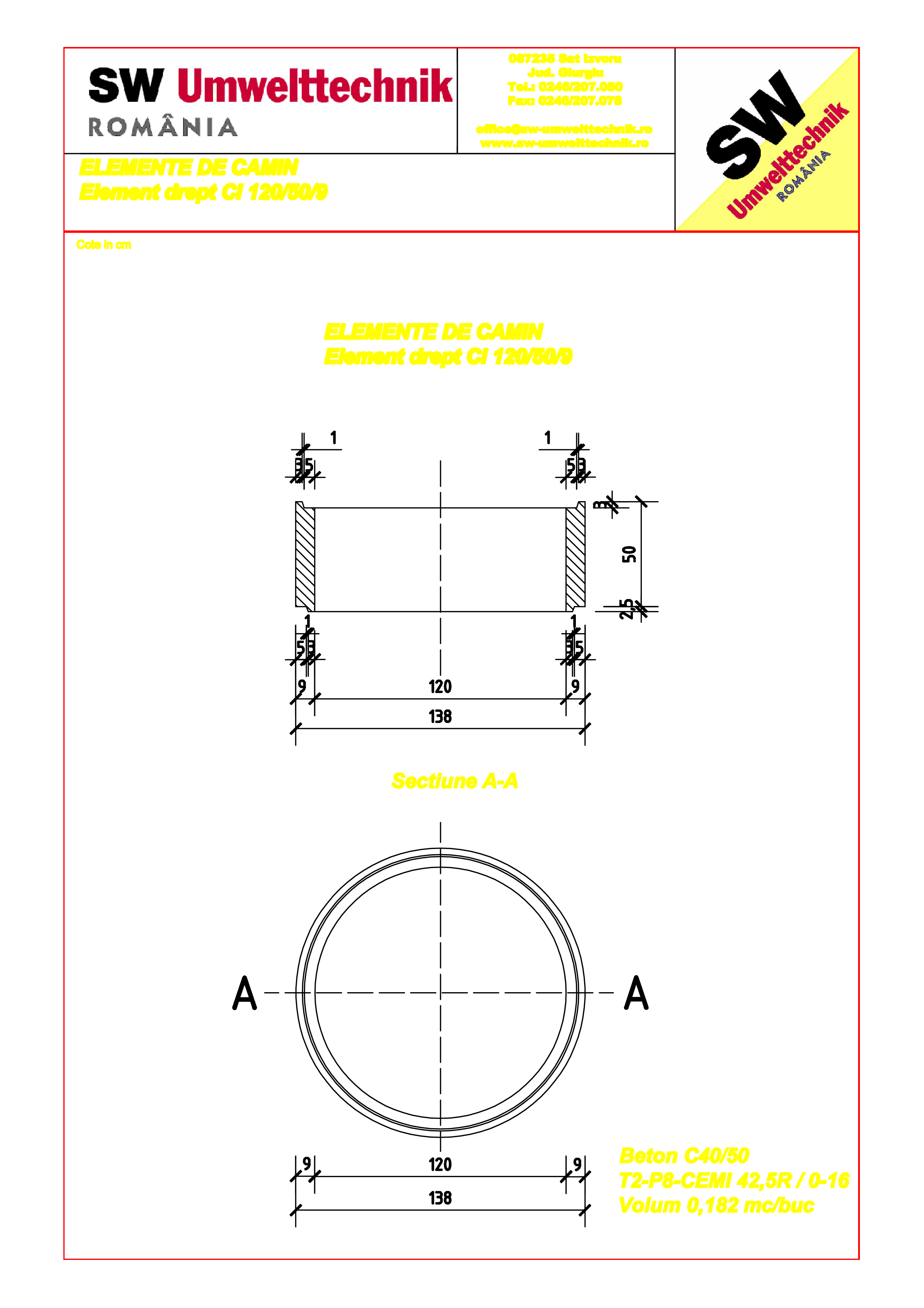 Pagina 1 - CAD-PDF Element drept - inel DN120 H50 SW UMWELTTECHNIK Detaliu de produs