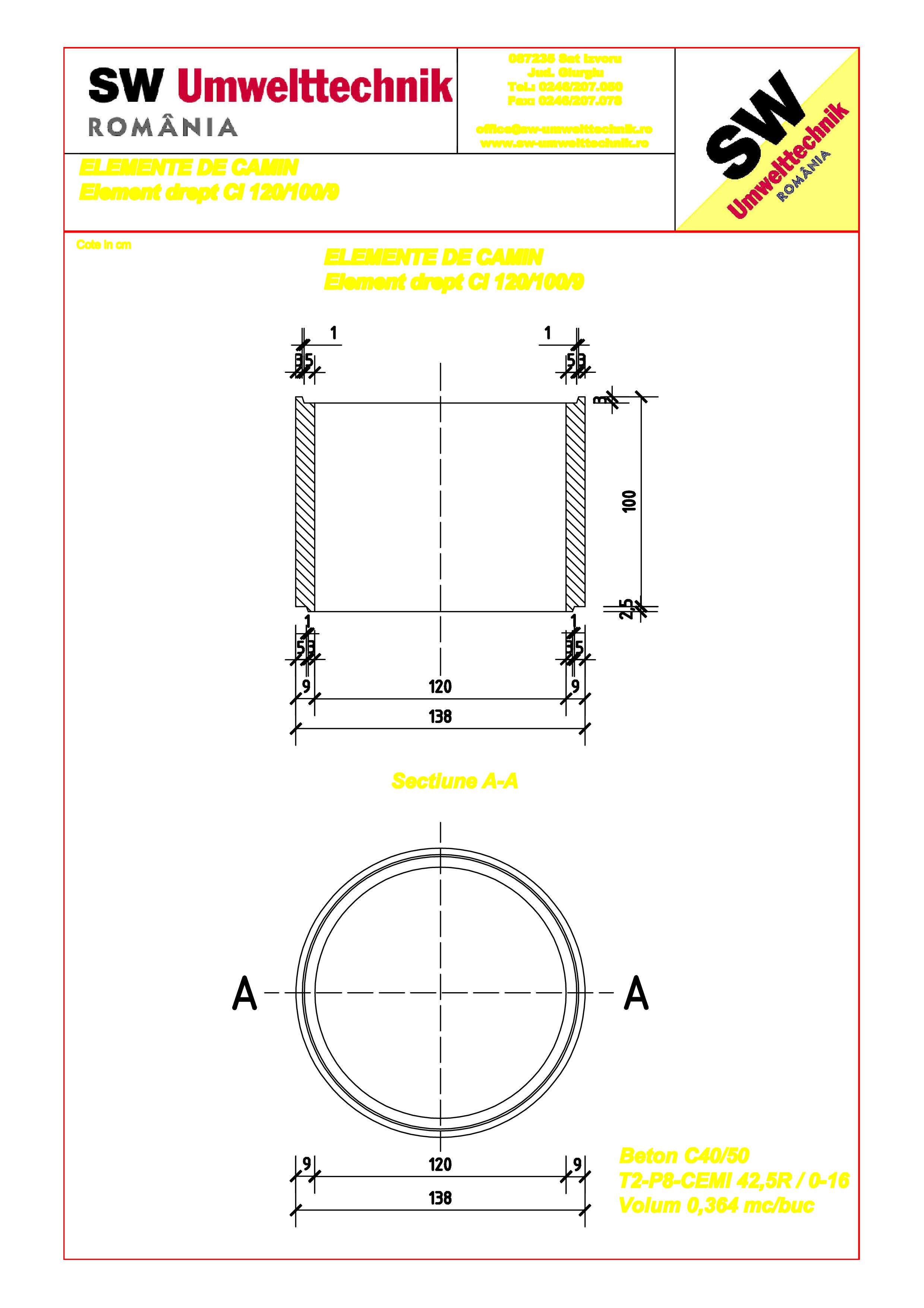 Pagina 1 - CAD-PDF Element drept - inel DN120 H100 SW UMWELTTECHNIK Detaliu de produs