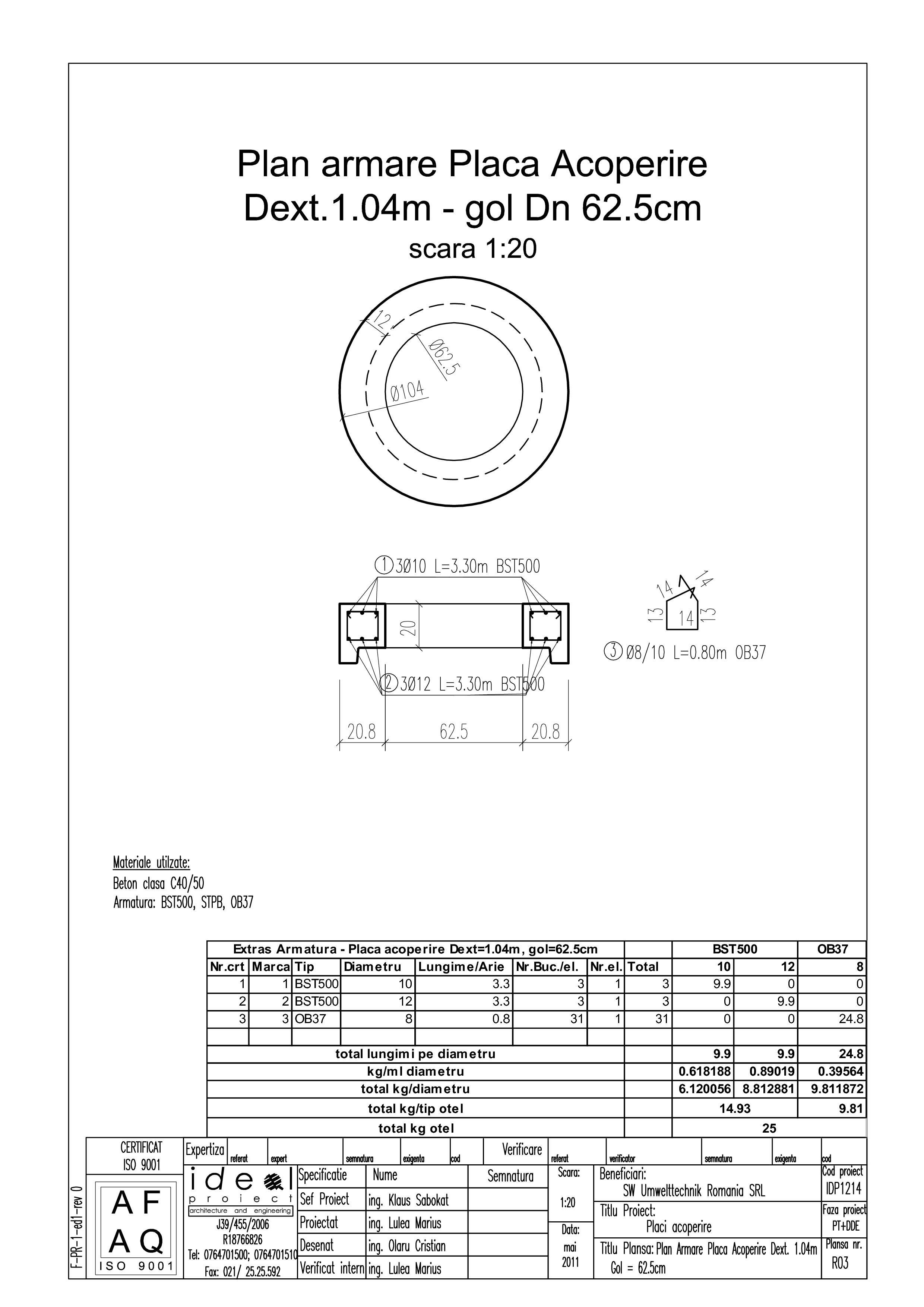 Pagina 1 - CAD-PDF Placa acoperire Dext1040 H200 cu GOL DN625 SW UMWELTTECHNIK Detaliu de produs